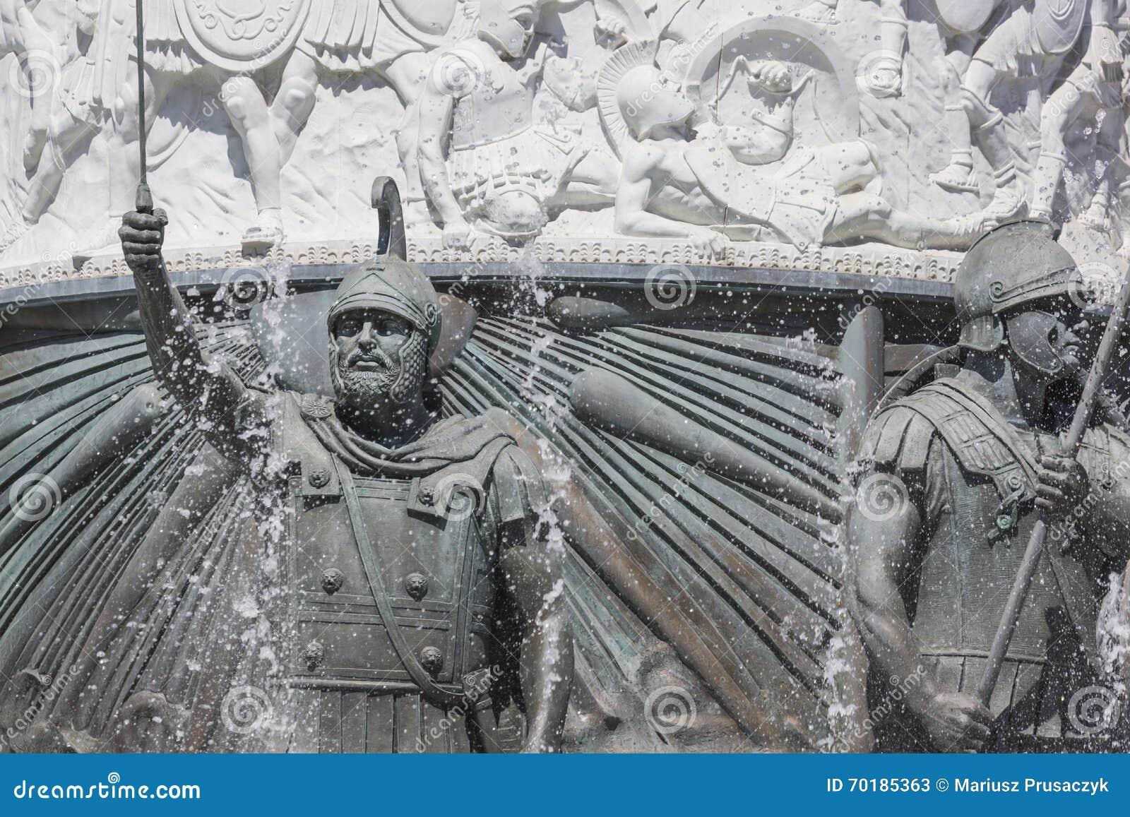 SKOPJE MAKEDONIEN - APRIL 14, 2016: Staty av Alexander det stort
