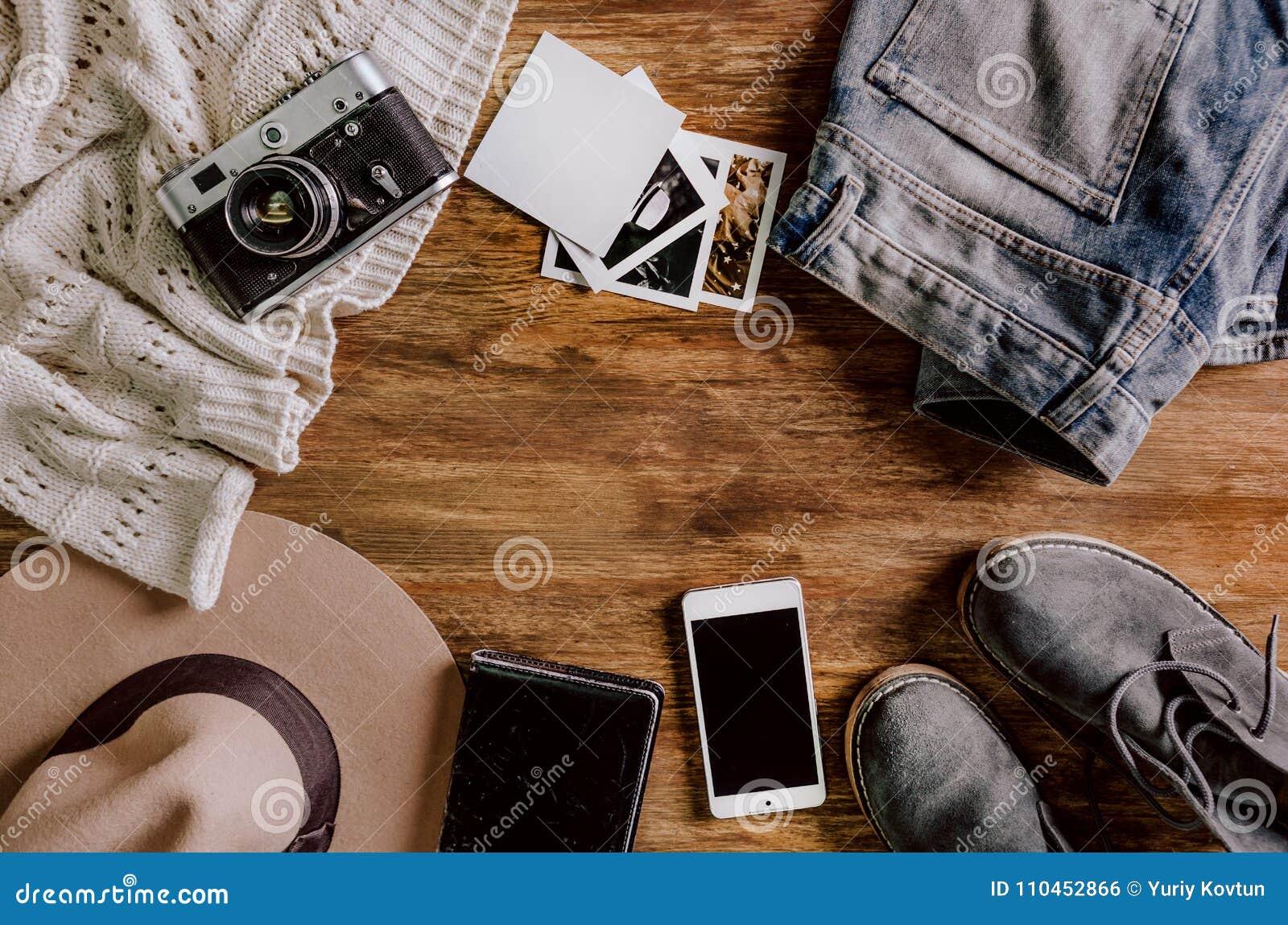 Skor för anteckningsbok för telefon för jeans för hattkameratröja