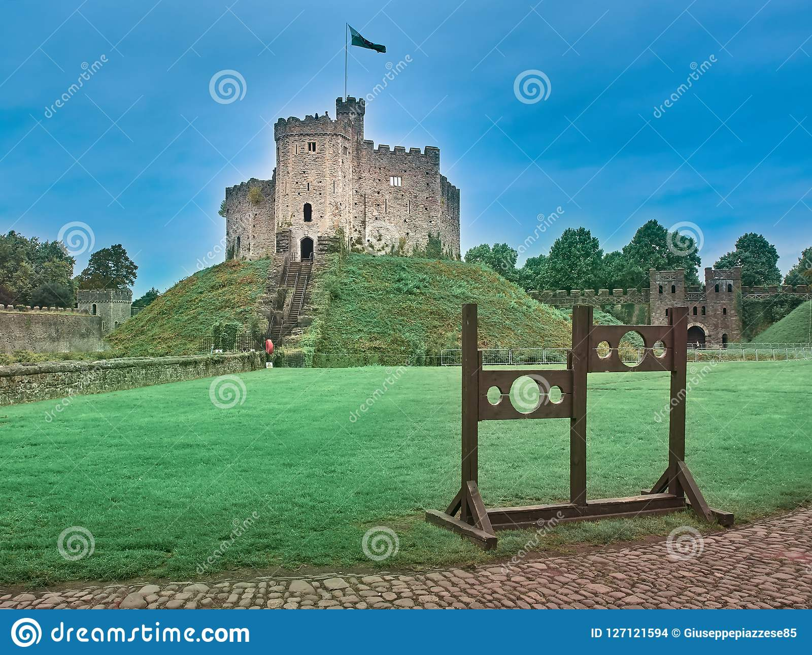 Skott av slotten av Cardiff