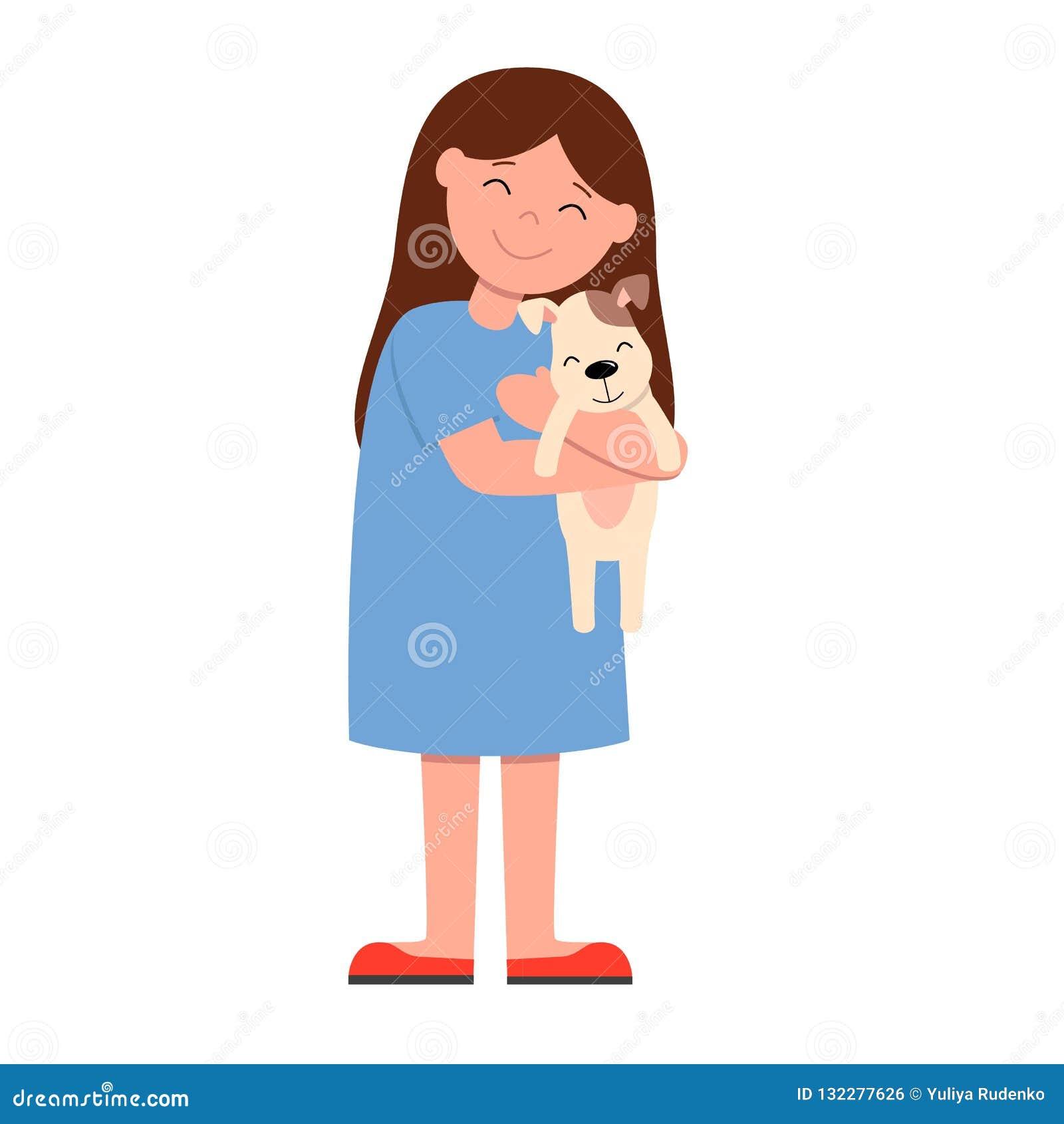 Skratta flickan i den blåa klänningen som rymmer och kelar starkt hunden r