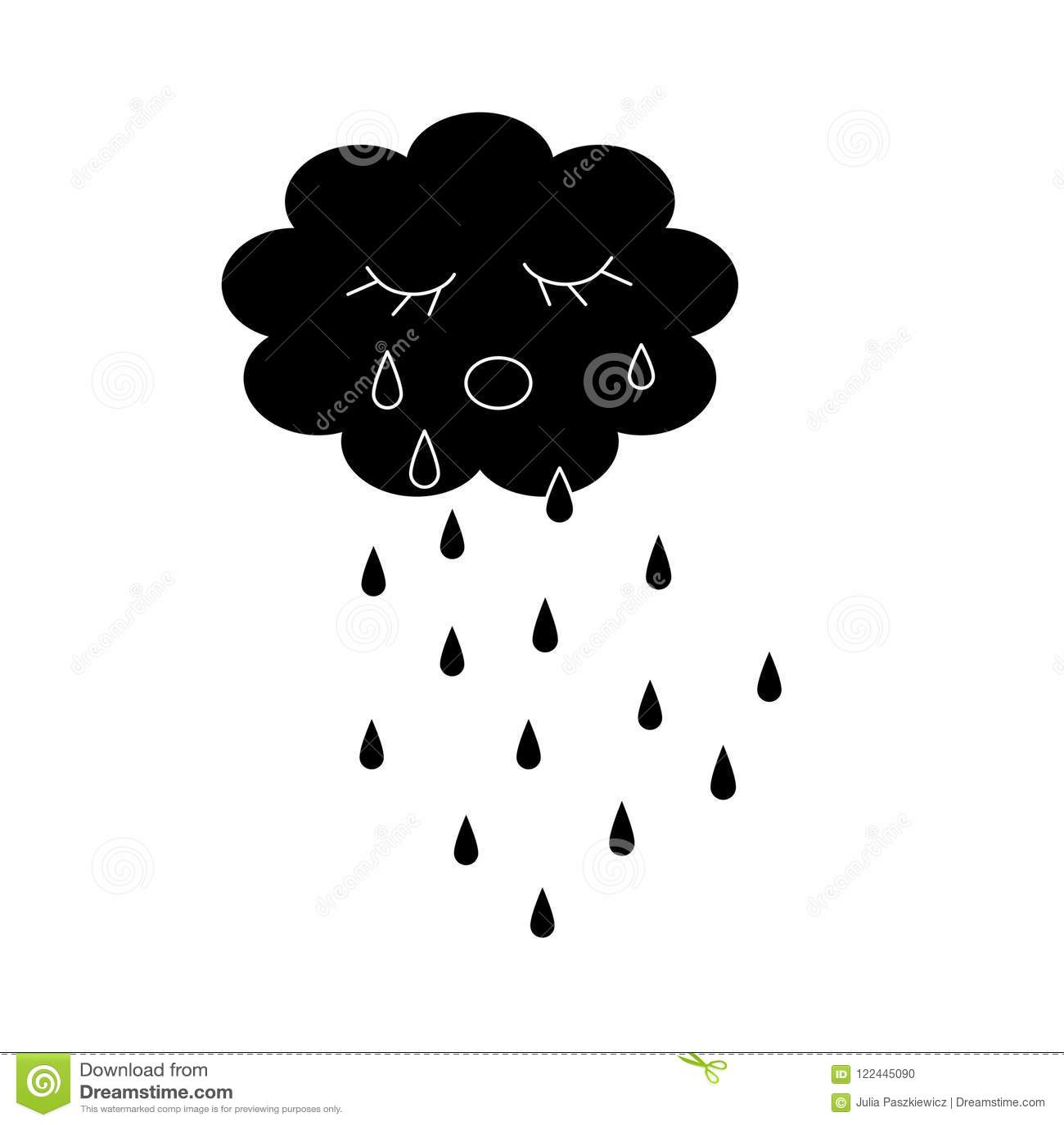 Skriande tecknad film för molnsvartkontur