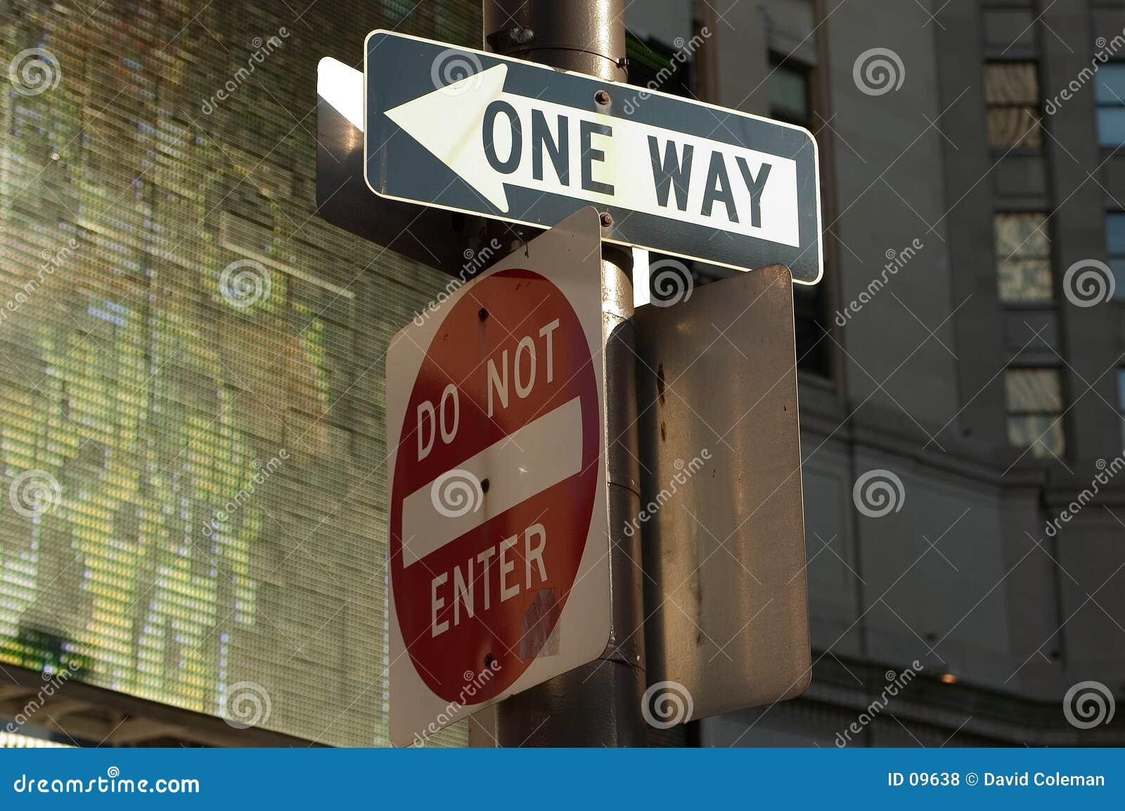 Skriv in inte one-way