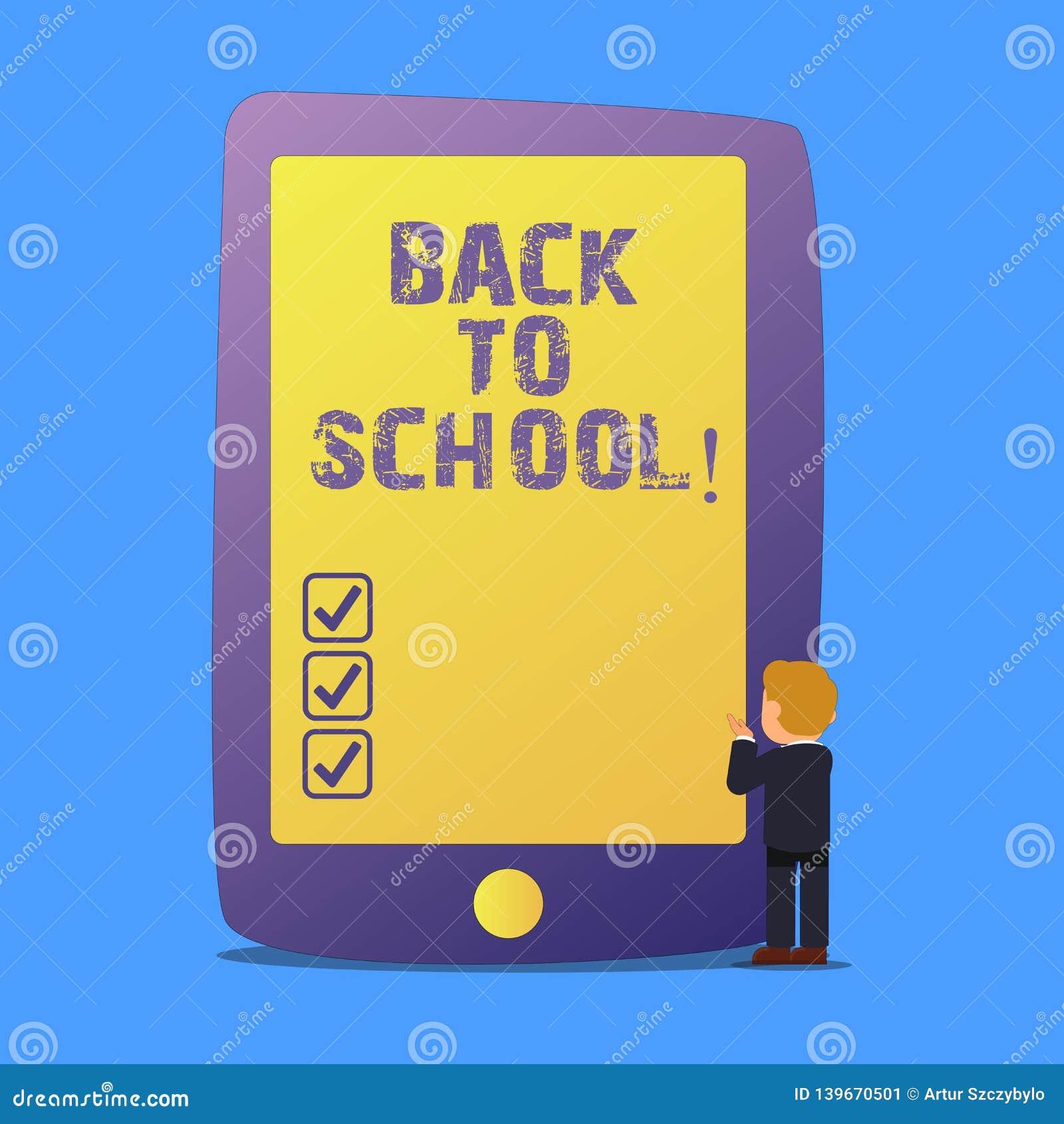 Skriva anmärkningen som tillbaka visar till skolan Affärsfotoet som ställer ut nya lärarevänner, bokar likformigbefordranskolavgi