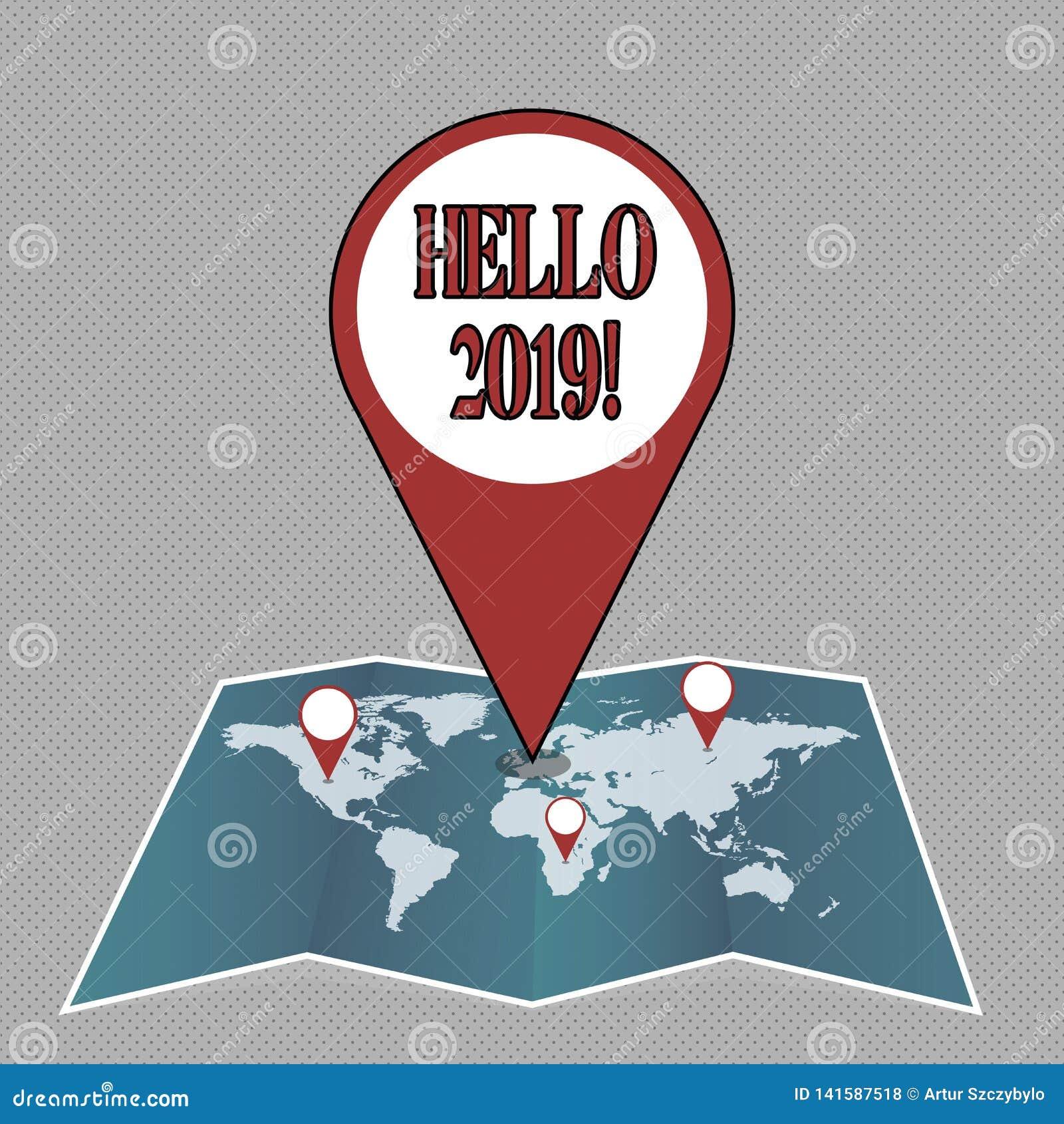 Skriva anmärkningen som visar Hello 2019 Affärsfotoet som ställer ut starta ett Motivational meddelande 2017 för nytt år, är över