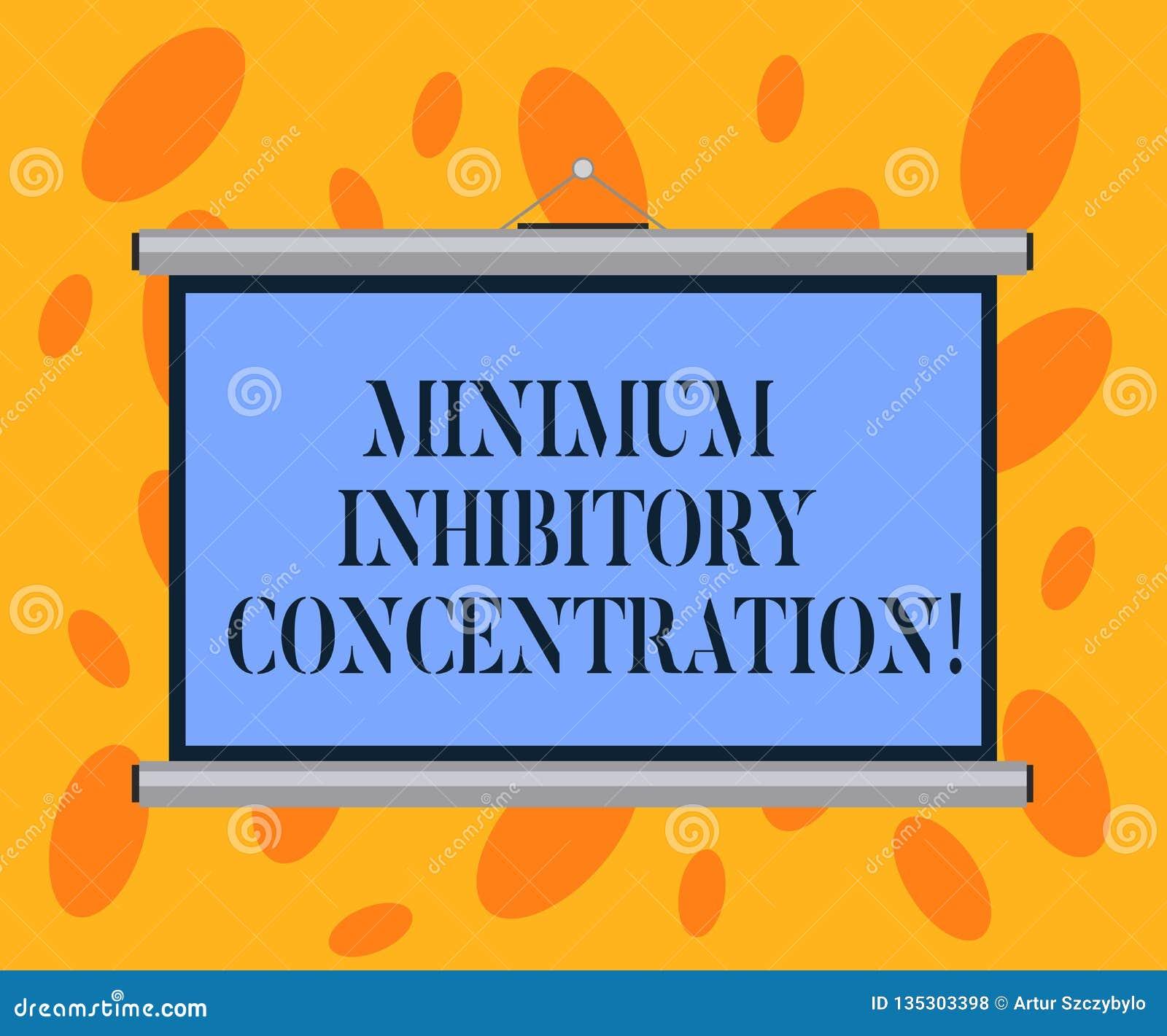 Skriva anmärkningen som visar minimum Inhibitory koncentration Affärsfoto som ställer ut lägst koncentration av en kemikalie