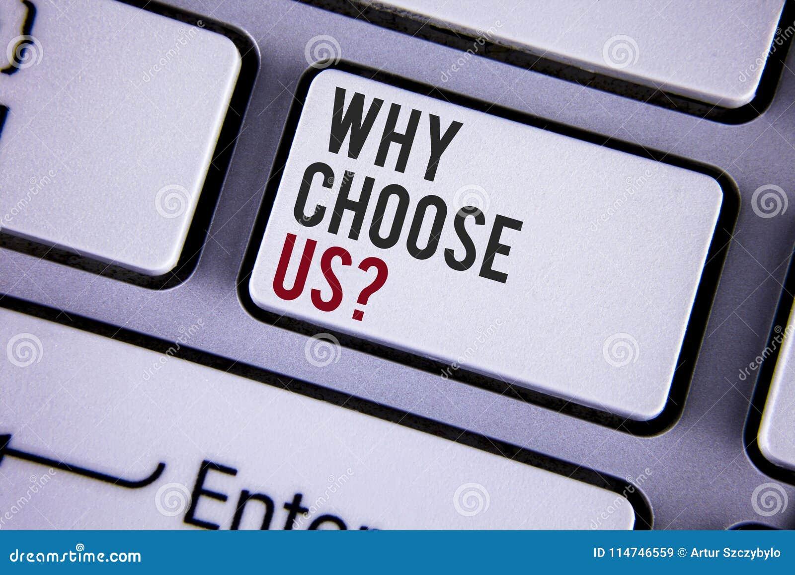 Skriva anmärkningsvisning därför välj oss frågan Affärsfoto som ställer ut anledningar att välja våra skriftliga serviceprodukter