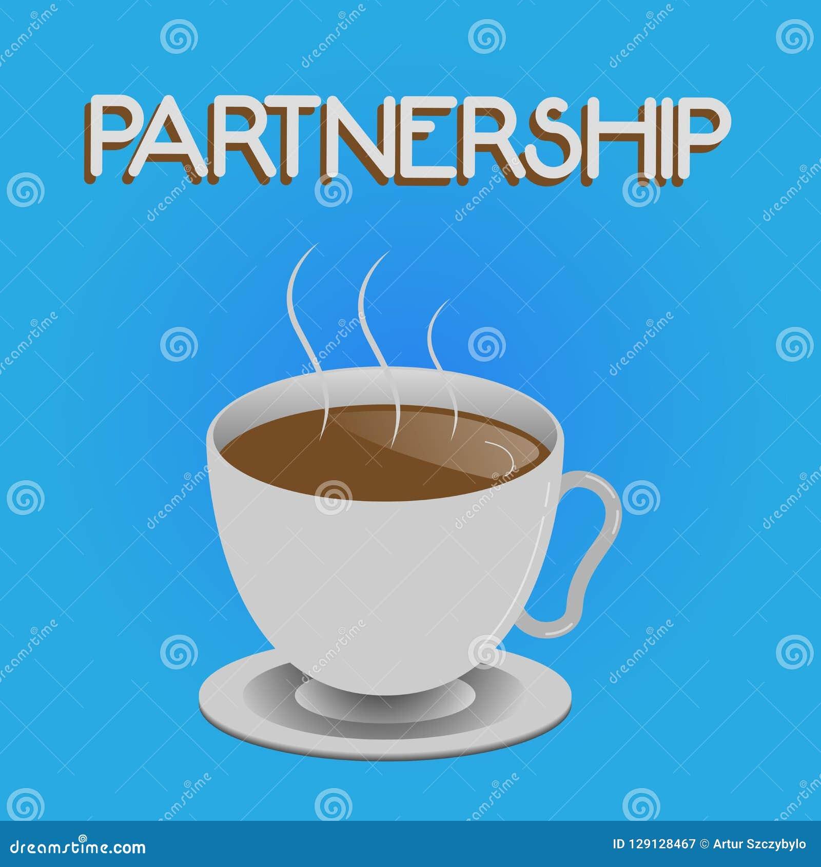 Skriva anmärkningsvisningpartnerskap Affärsfoto som ställer ut anslutning av två eller mer visning som blir partner med samarbete