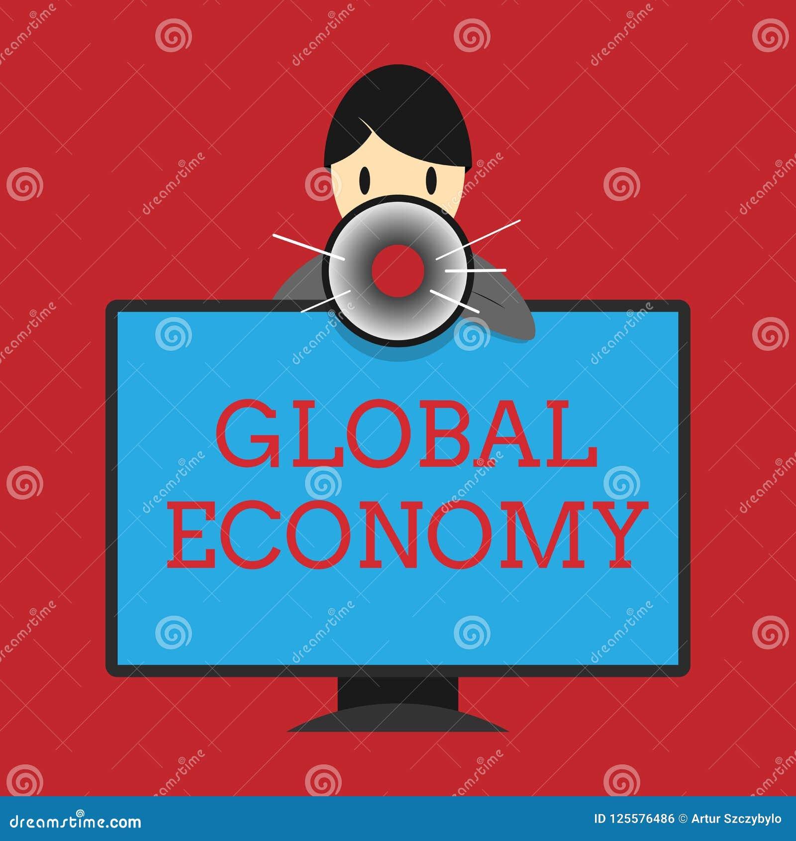 Skriva anmärkningsvisningvärldsekonomi Affärsfoto som runt om världen ställer ut systemet av kapitalism för bransch och för hande