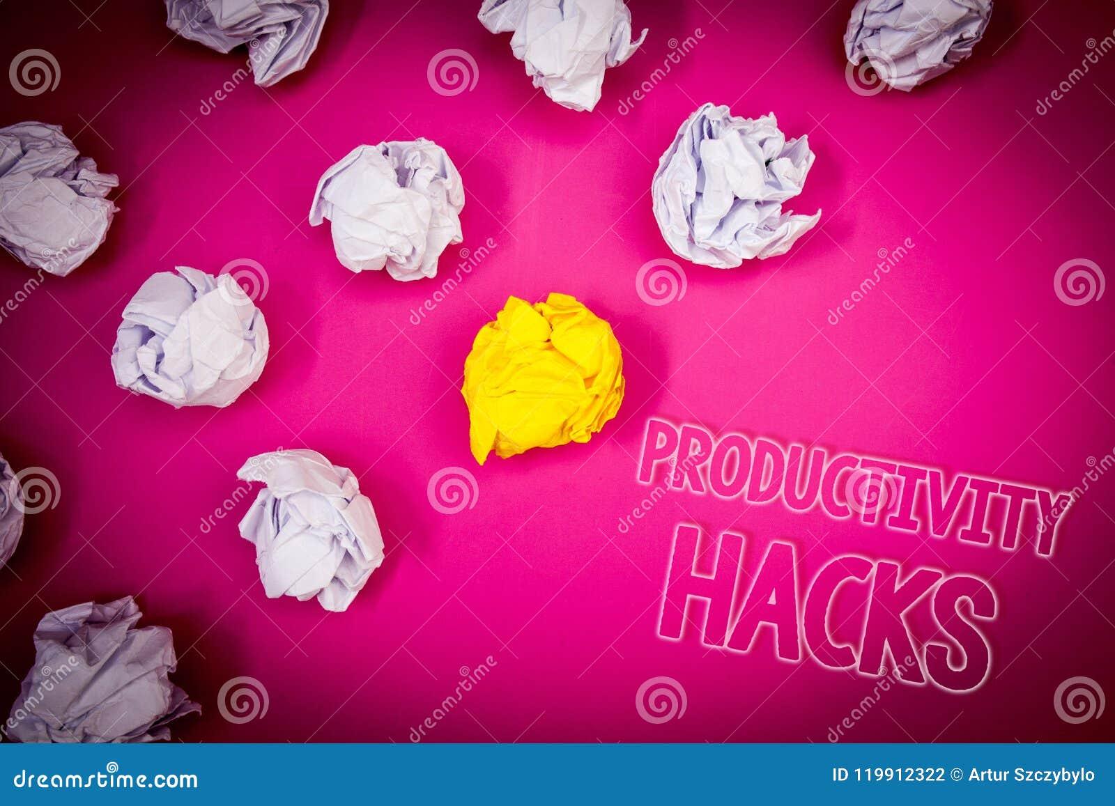 Skriva hackor för anmärkningsvisningproduktivitet Affärsfotoet som ställer ut dataintrånglösningsmetod, tippar grou för effektivi