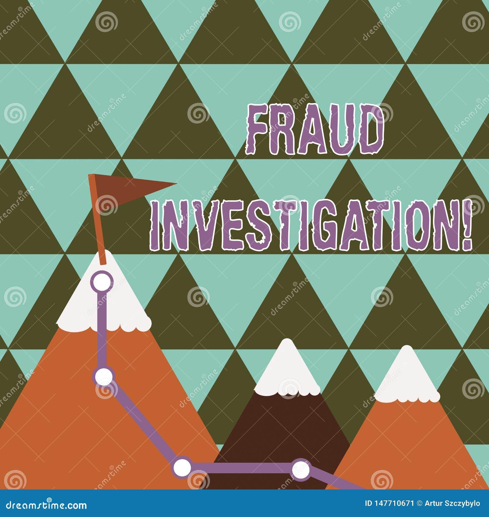 Skriva utredning för anmärkningsvisningbedrägeri Affärsfotoet som ställer ut process av att bestämma huruvida en svindel, har tag