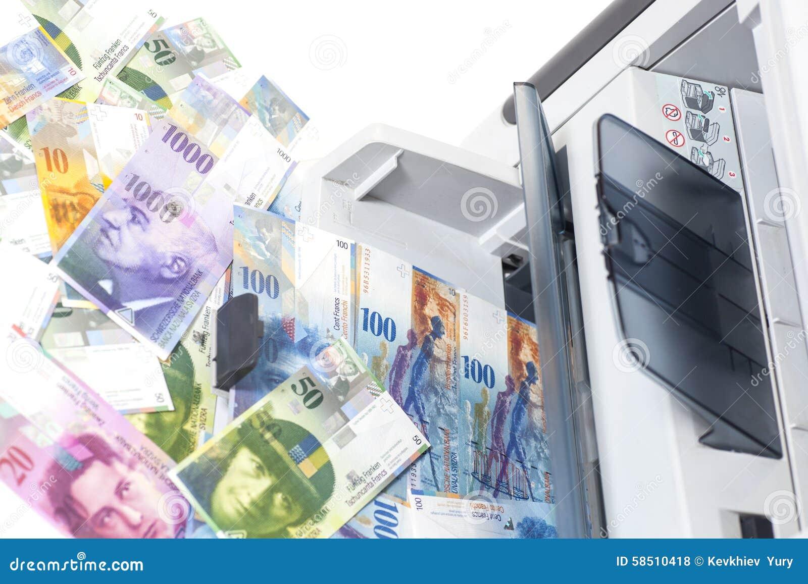 Skrivarprinting fejkar schweizisk franc, valuta av Schweiz