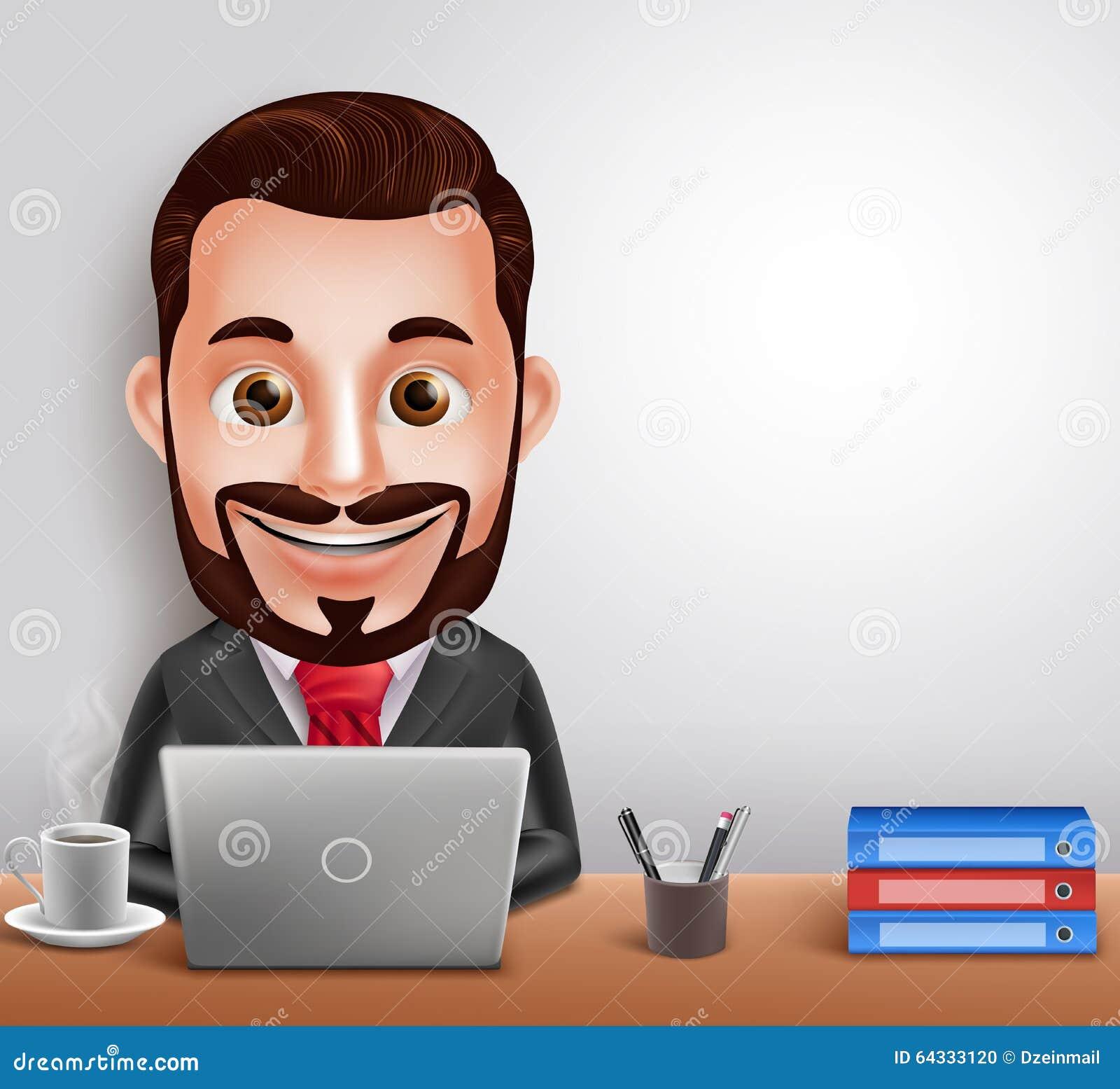 Skrivbord för arbete för yrkesmässigt för affärsman tecken för vektor upptaget i regeringsställning