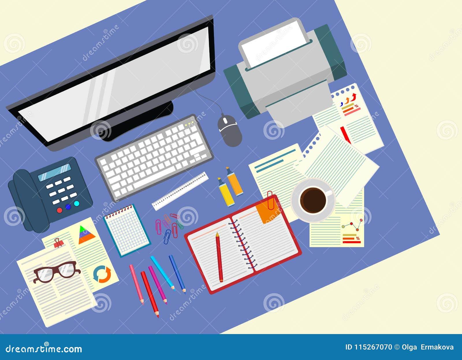 Skrivbord kontor Realistisk arbetsplatsorganisation övre sikt konstruktionsillustrationmateriel under vektor