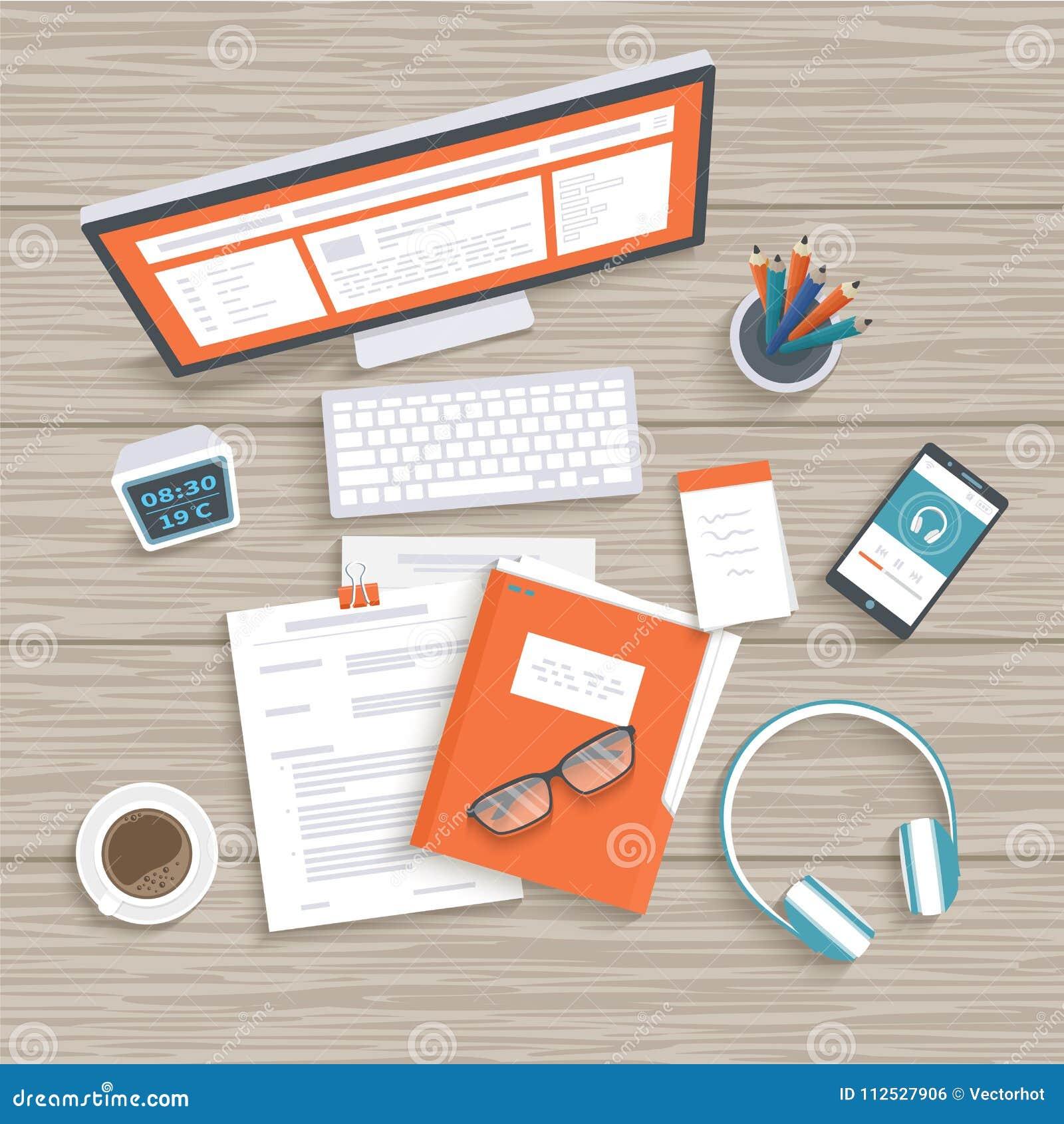 Skrivbord med bildskärmen, tangentbord, dokument, mapp, hörlurar, telefon Trä bordlägga bästa beskådar Arbetsplatsbakgrund