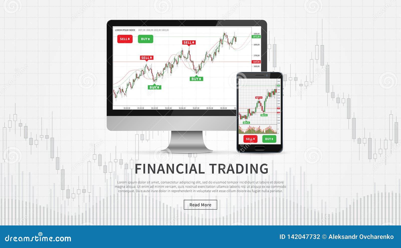Skrivbordet och smartphonen med finansiellt handlar diagram