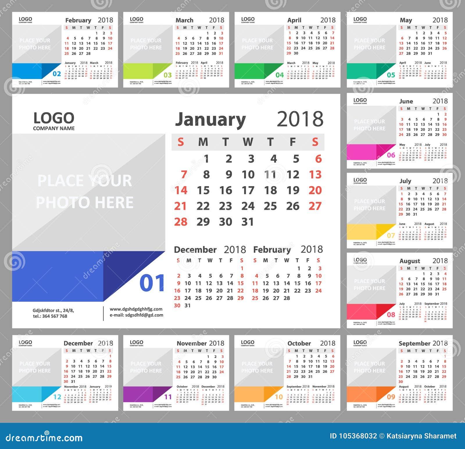 Skrivbordkalender 2018 Veckan startar söndag Uppsättning av 12 månader