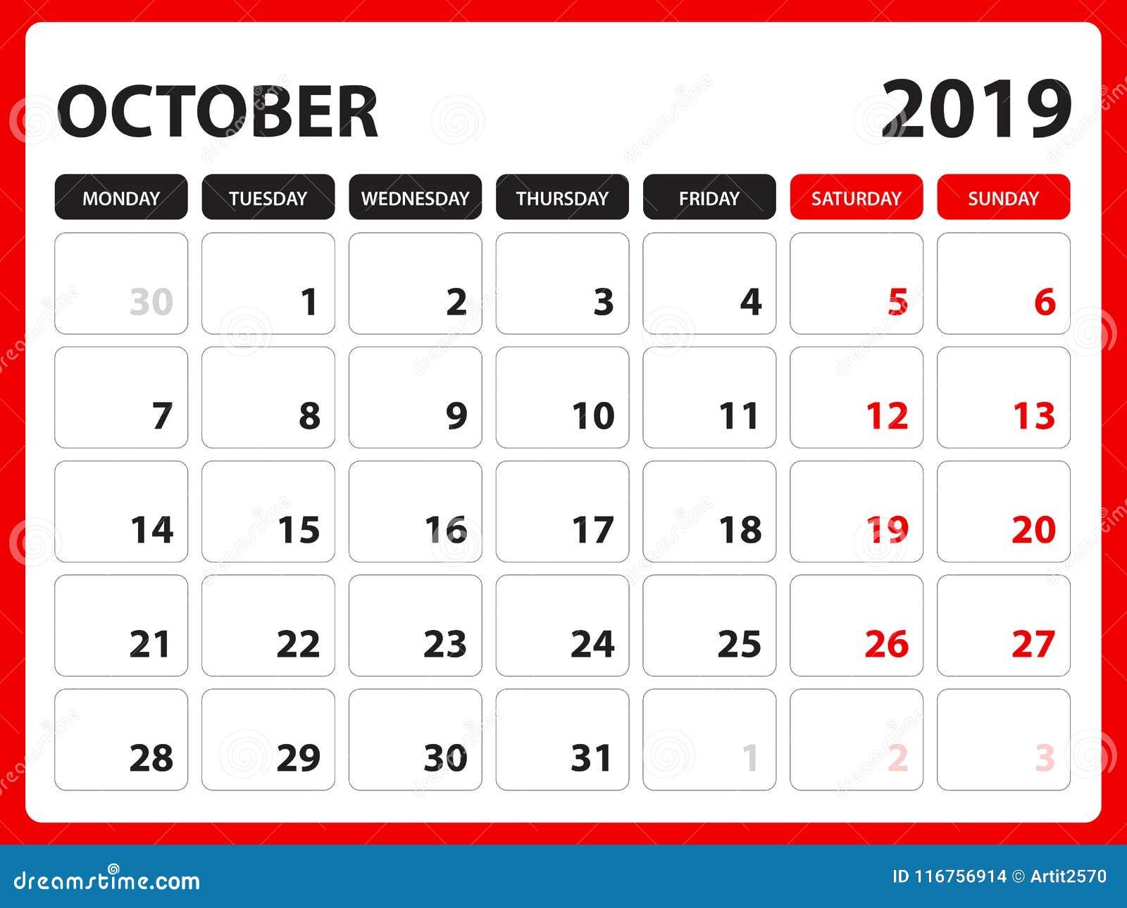 Skrivbordkalendern för den OKTOBER 2019 mallen, den tryckbara kalendern, stadsplaneraredesignmallen, vecka startar på söndag, bre