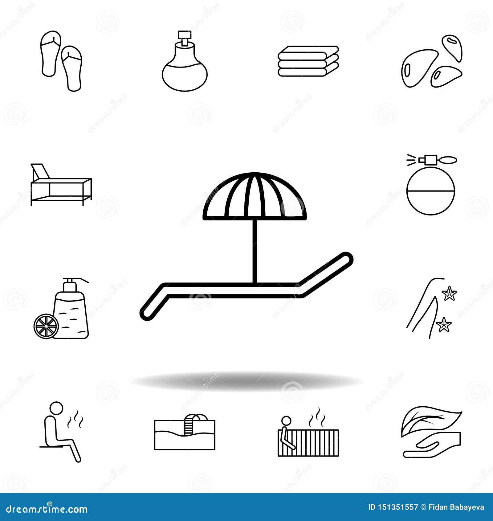 Skrivbordstol under paraplyöversiktssymbol Detaljerad uppsättning av brunnsorten och att koppla av illustrationsymbolen Kan använ