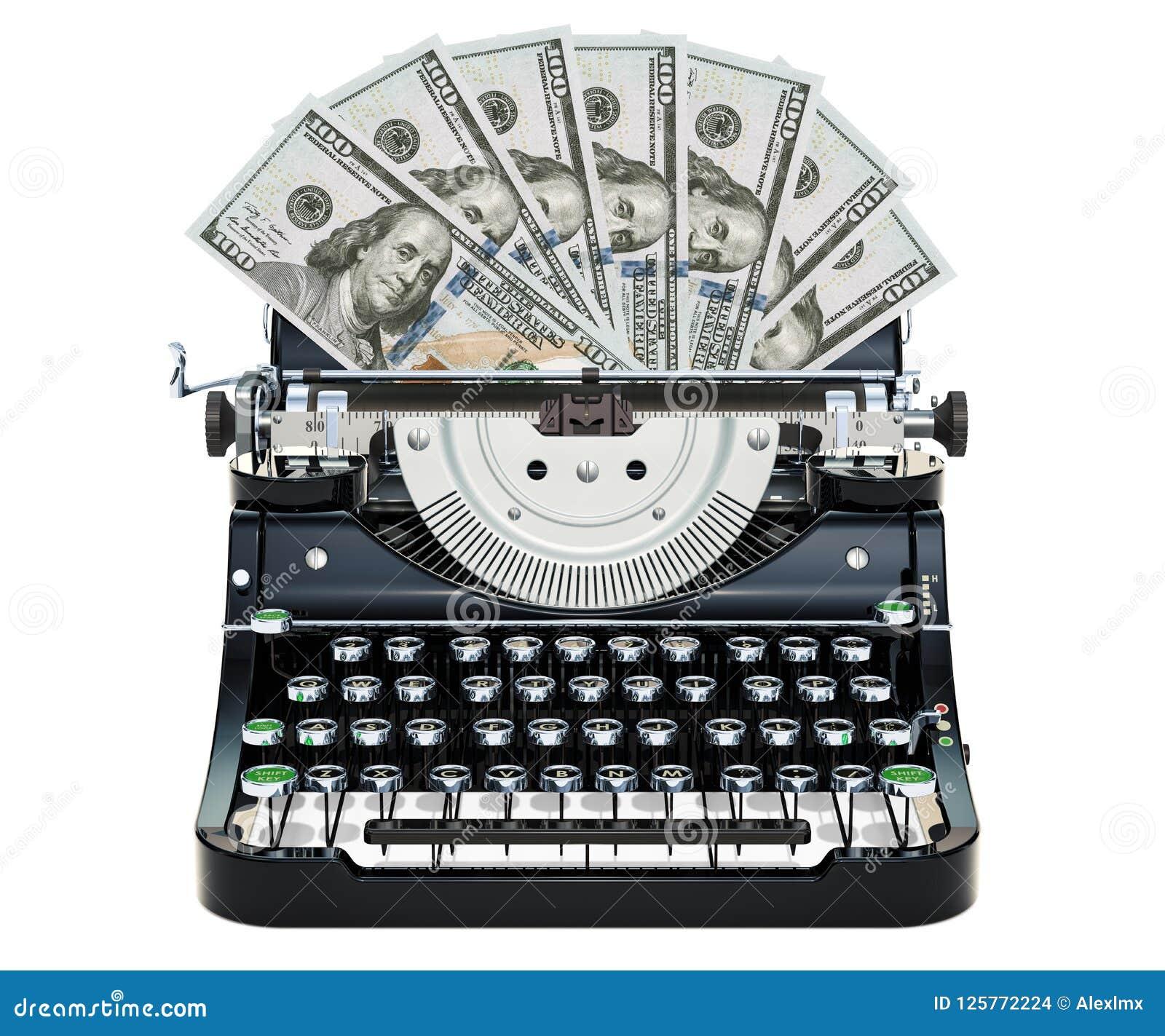 Skrivmaskinen som skrivar ut dollar, gör pengarbegrepp framförande 3d