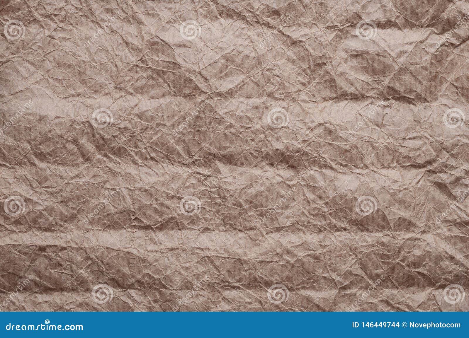 Skrynkligt kraft papper Textur skrynklade ?teranv?nt gammalt brunt papper