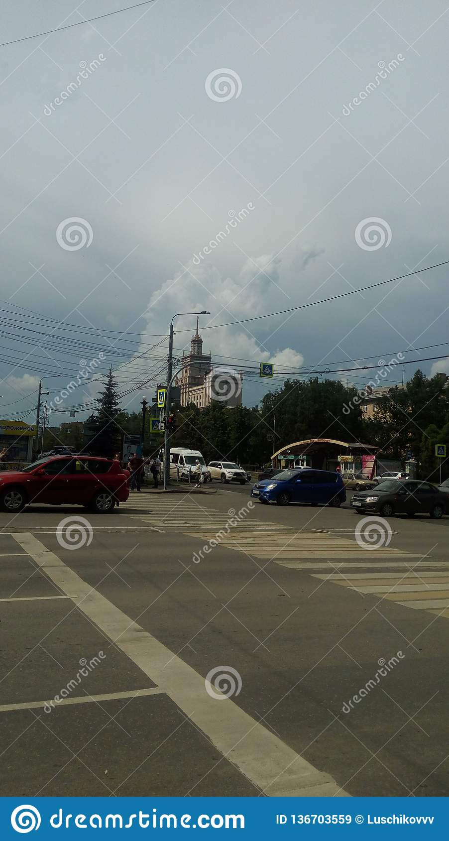 Skrzyżowanie ulicy w mieście Chelyabinsk