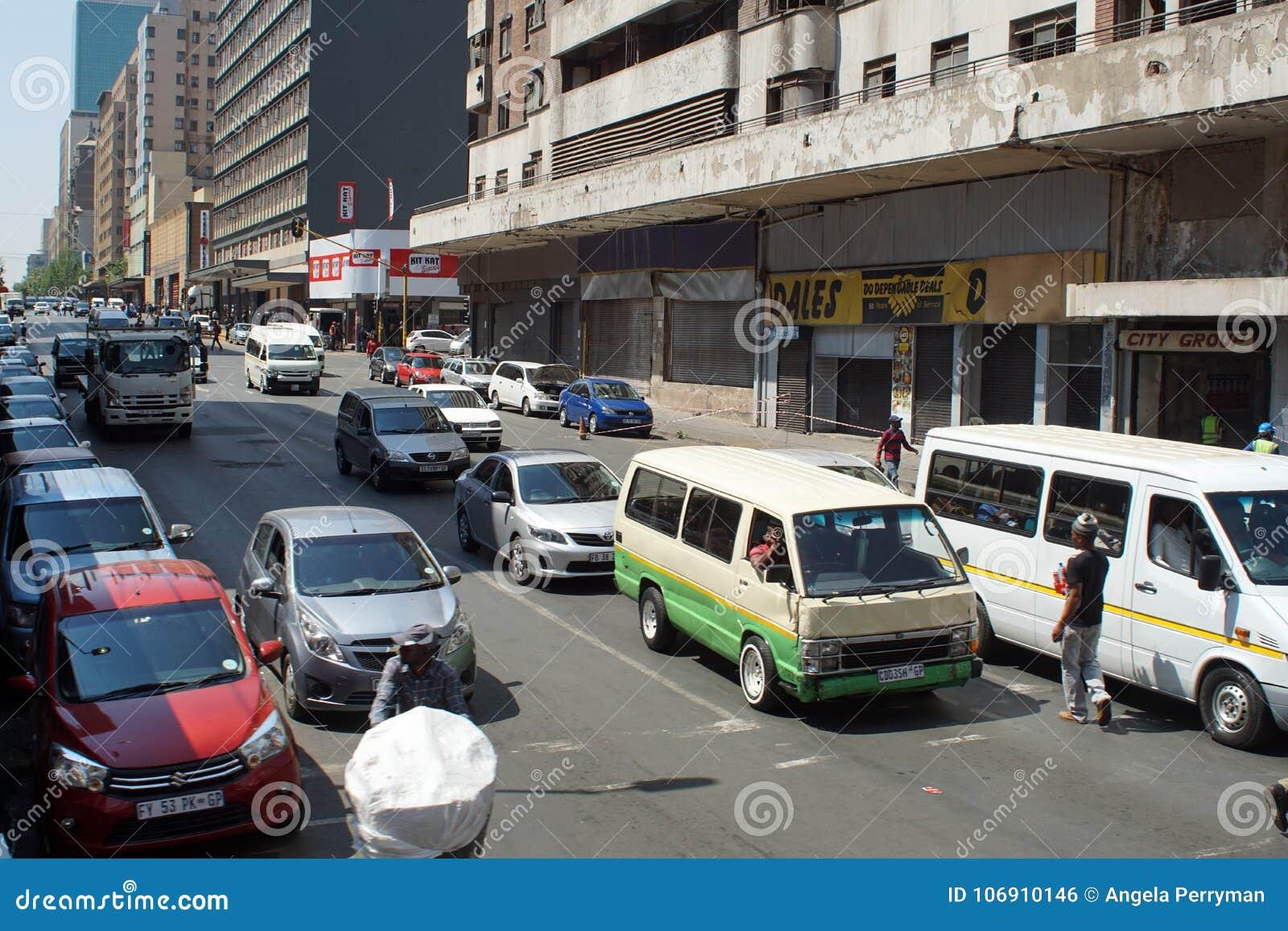Skrzyżowanie w Środkowej dzielnicie biznesu, Johannesburg, Południowa Afryka