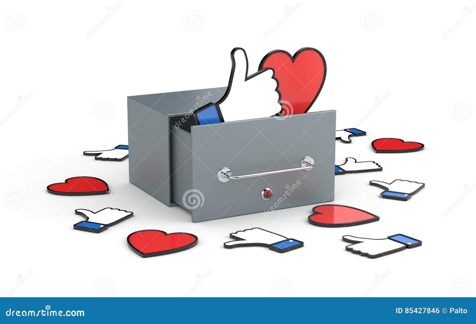 Skrzynka pocztowa z sercem i kciukiem w górę symboli/lów - ogólnospołeczni sieci pojęcia Ogólnospołeczna sieci metafora