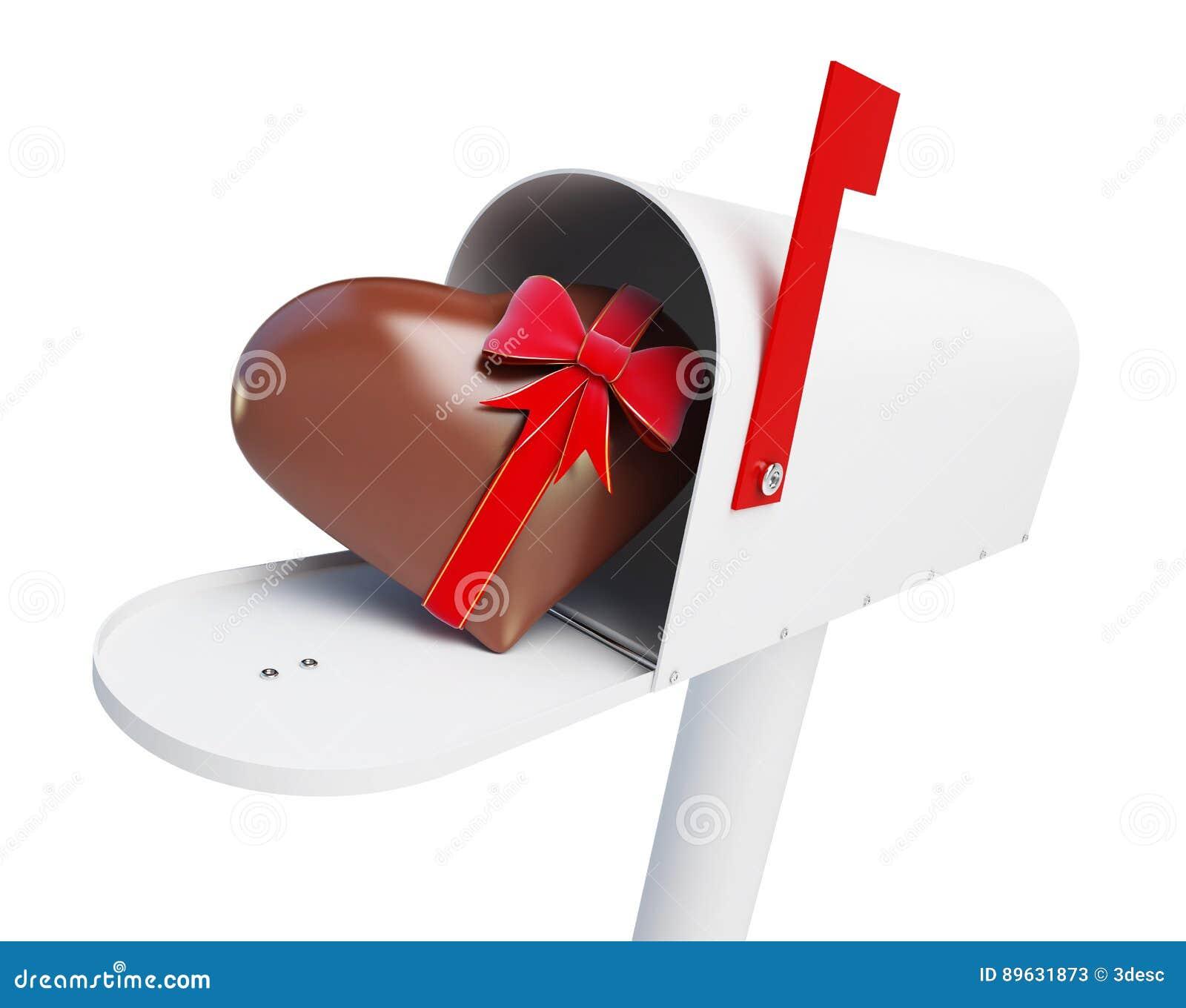 Skrzynki pocztowa Czekoladowy serce na białej tła 3D ilustraci