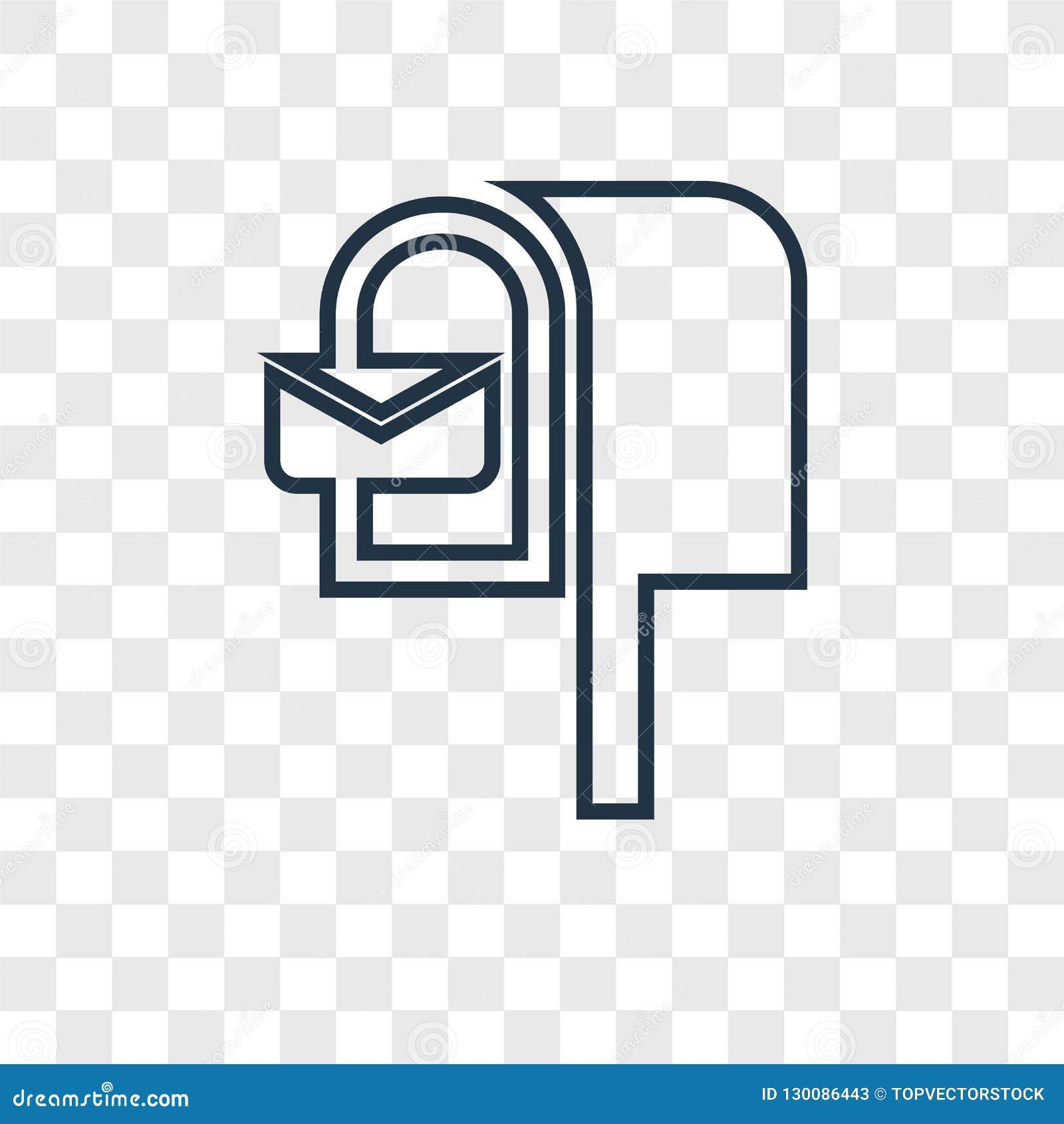 Skrzynki pocztowej pojęcia wektorowa liniowa ikona odizolowywająca na przejrzystym backg