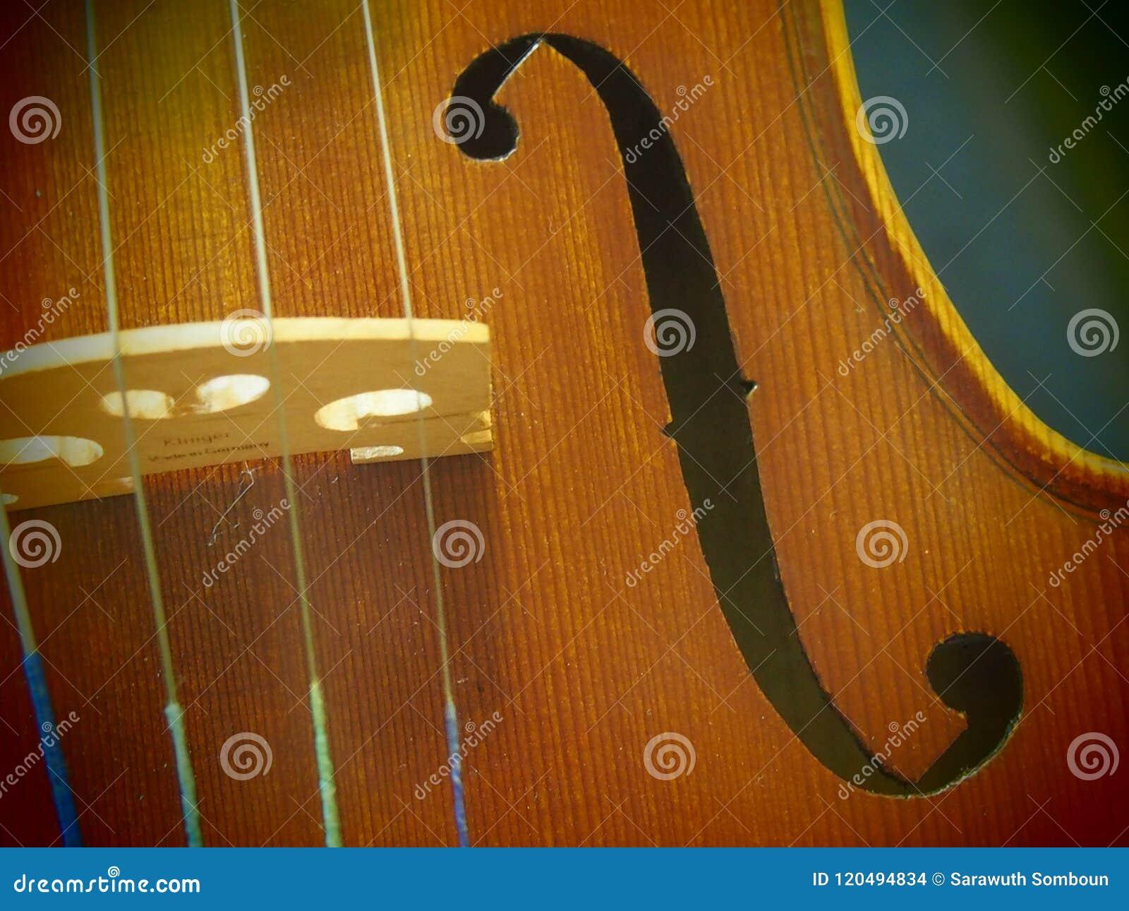Skrzypcowa Rozsądnej dziury melodia i sznurek Od Koncertowego skrzypce 4/4 Pinhole widoku