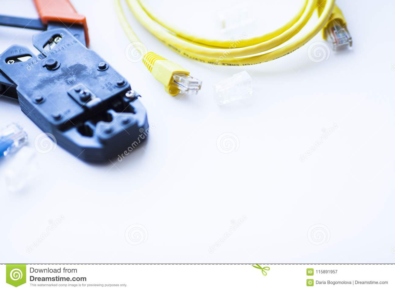 SKS and engineering concept.Set of connectors, ethernet and console cables, crimp tool on the white background.