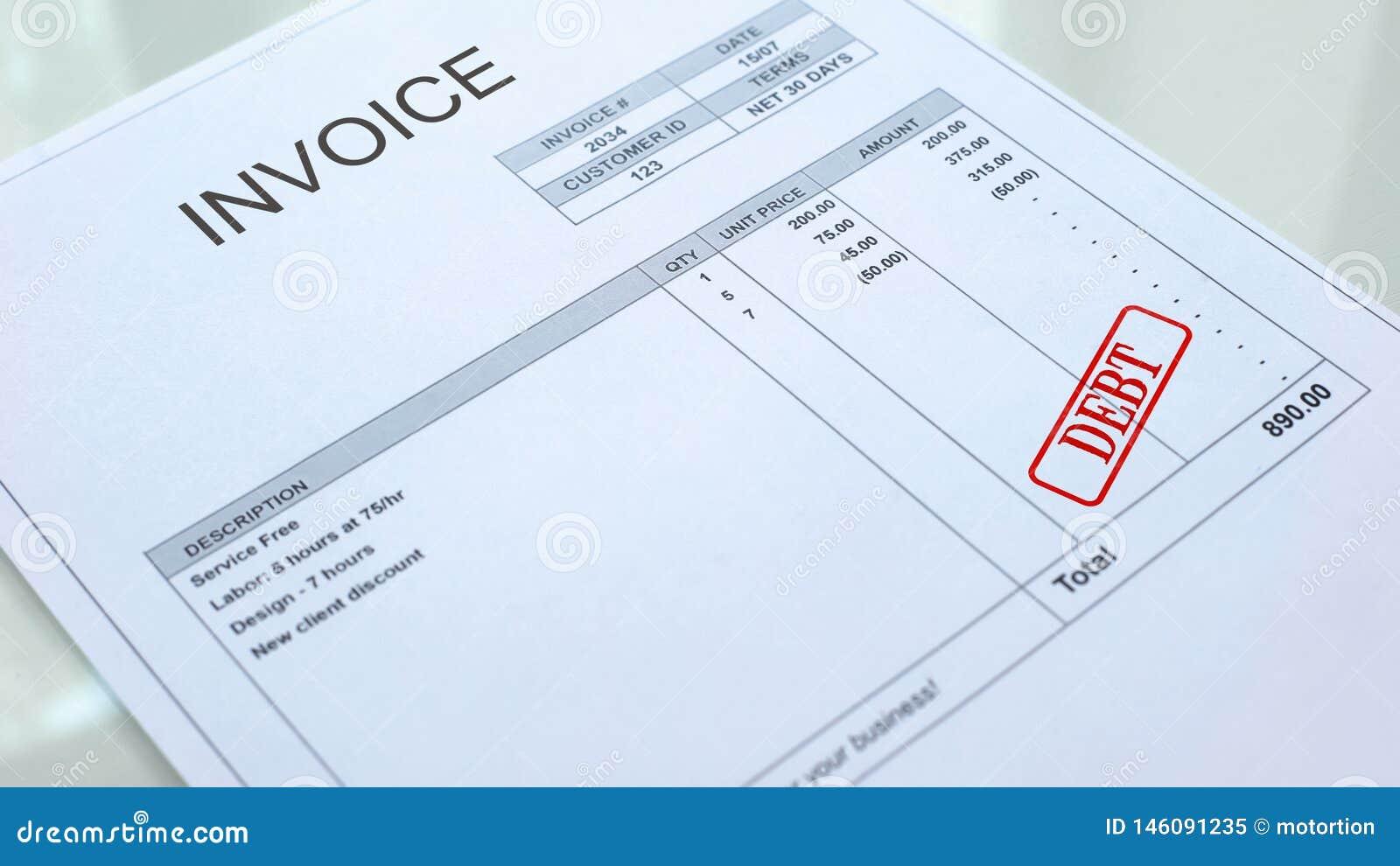 Skuldskyddsremsa som stämplas på fakturadokument, affärsbetalning, lån och krediteringar