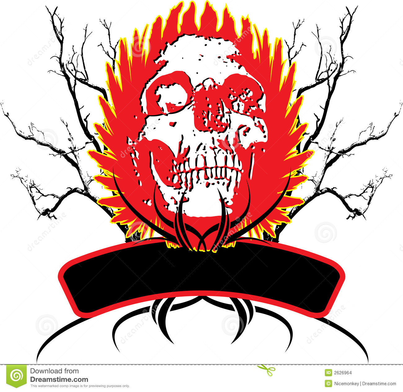 Abstract Skull Logo With Flaming Wings And A Area To Place Your Text
