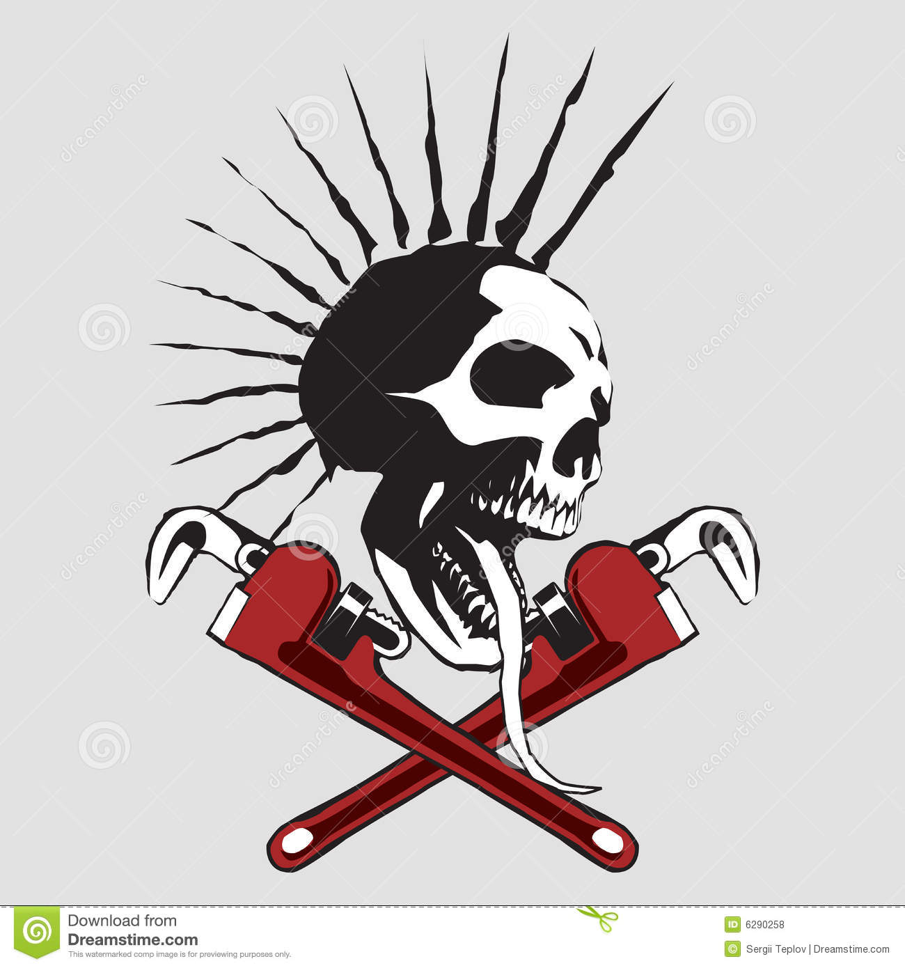 Skull with the pipe wrench. An additional file is in the format of EPS  sc 1 st  Dreamstime.com & Skull stock vector. Illustration of halloween construction - 6290258