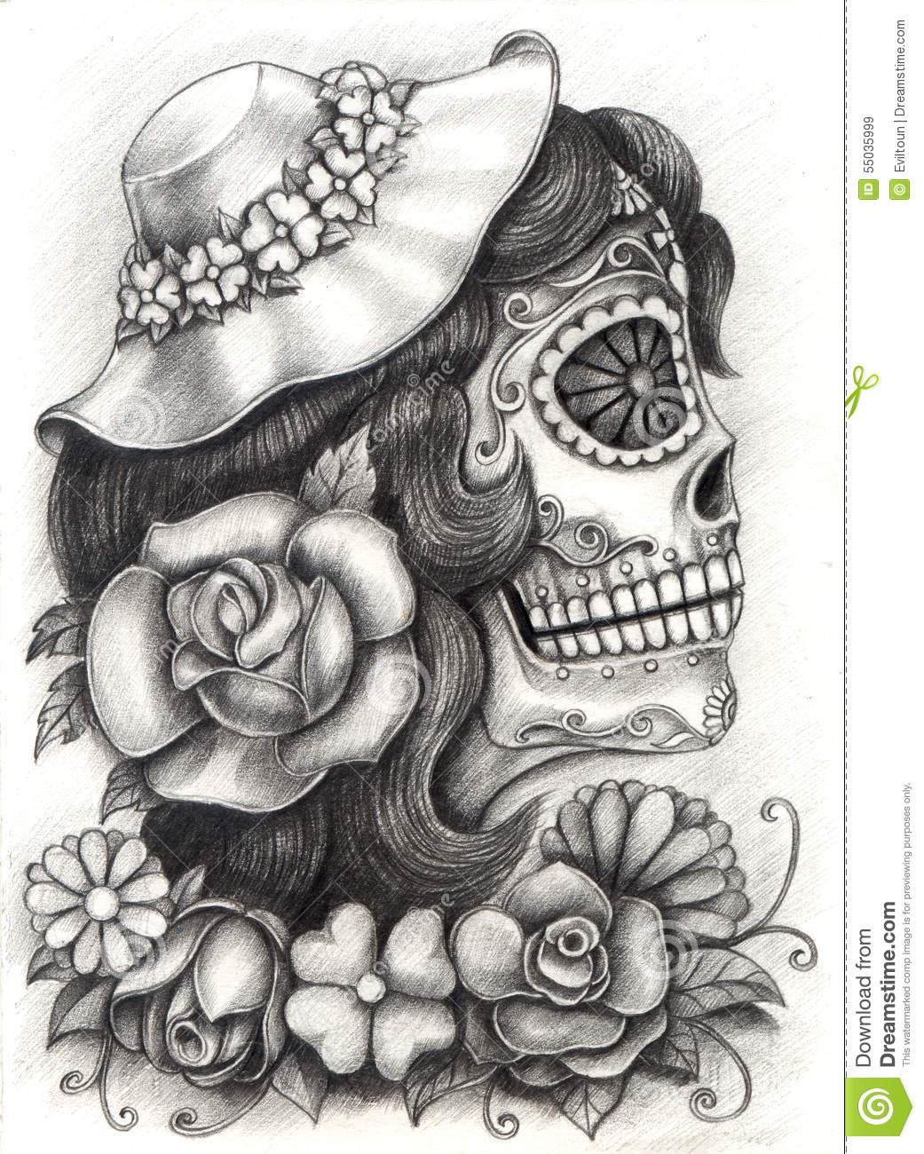 Skull Art Day Of The Dead Hand Drawing On Paper Stock