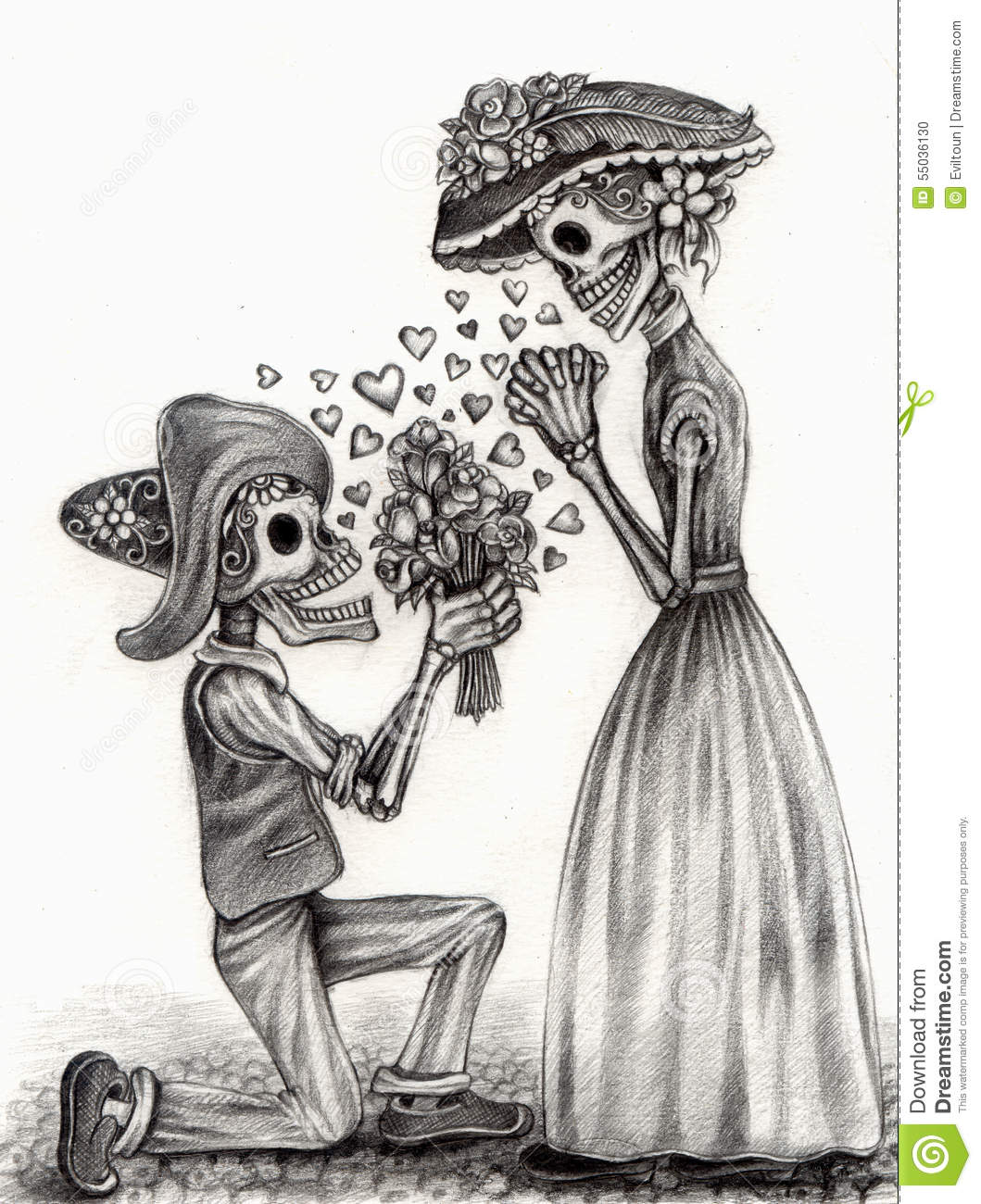 Art design men and women skull in love day of the dead festival hand pencil drawing on paper