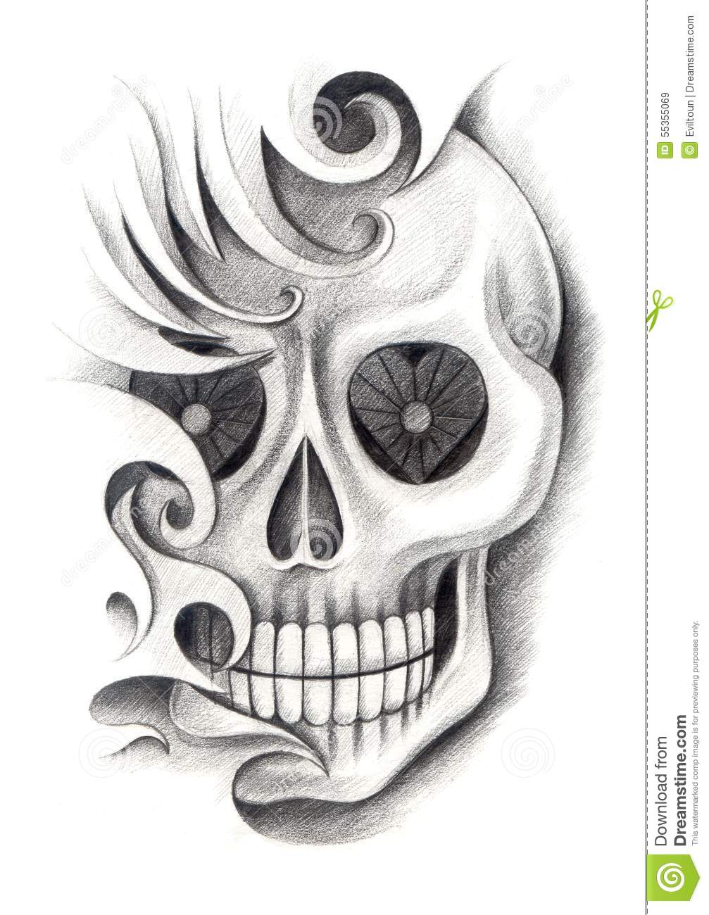 skull art tattoo stock illustration image 55355069. Black Bedroom Furniture Sets. Home Design Ideas