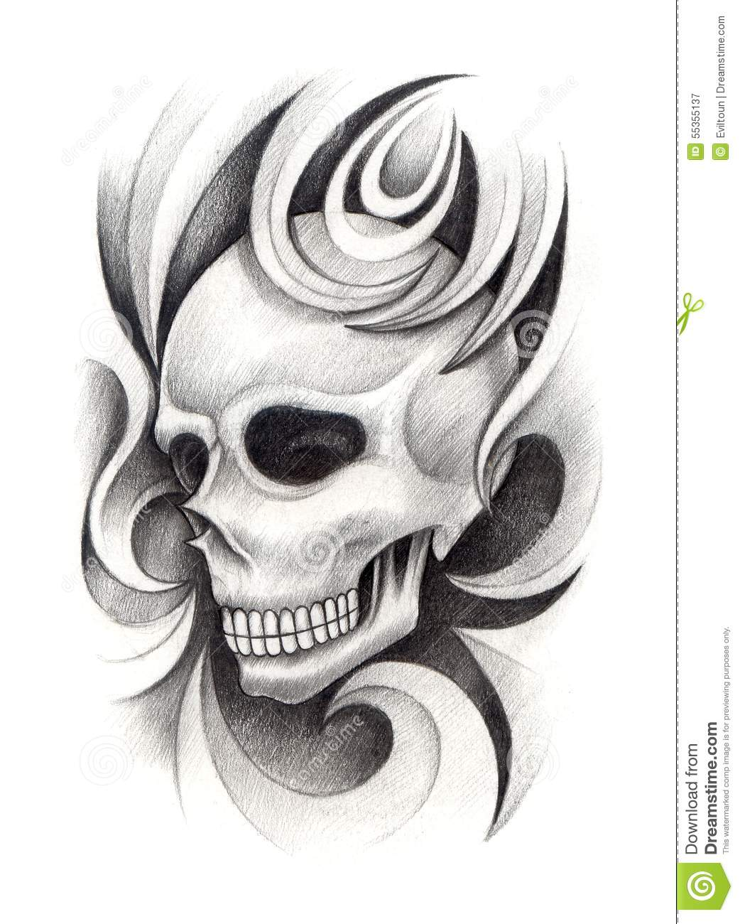 skull art tattoo stock illustration illustration of graphic 55355137. Black Bedroom Furniture Sets. Home Design Ideas