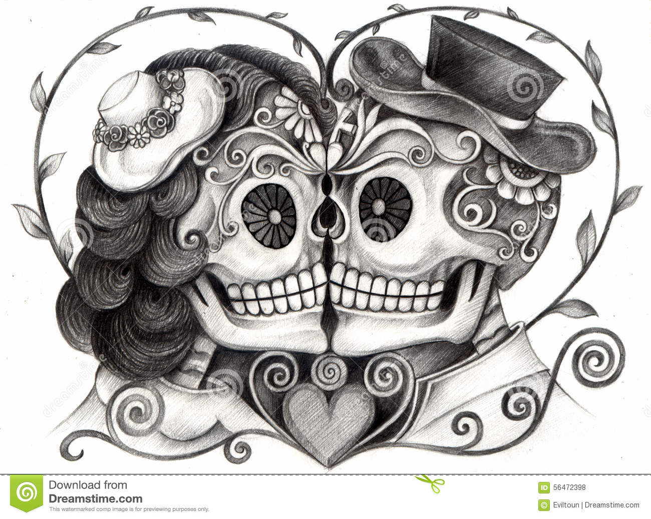 ... skull wedding day of the dead festival hand pencil drawing on paper