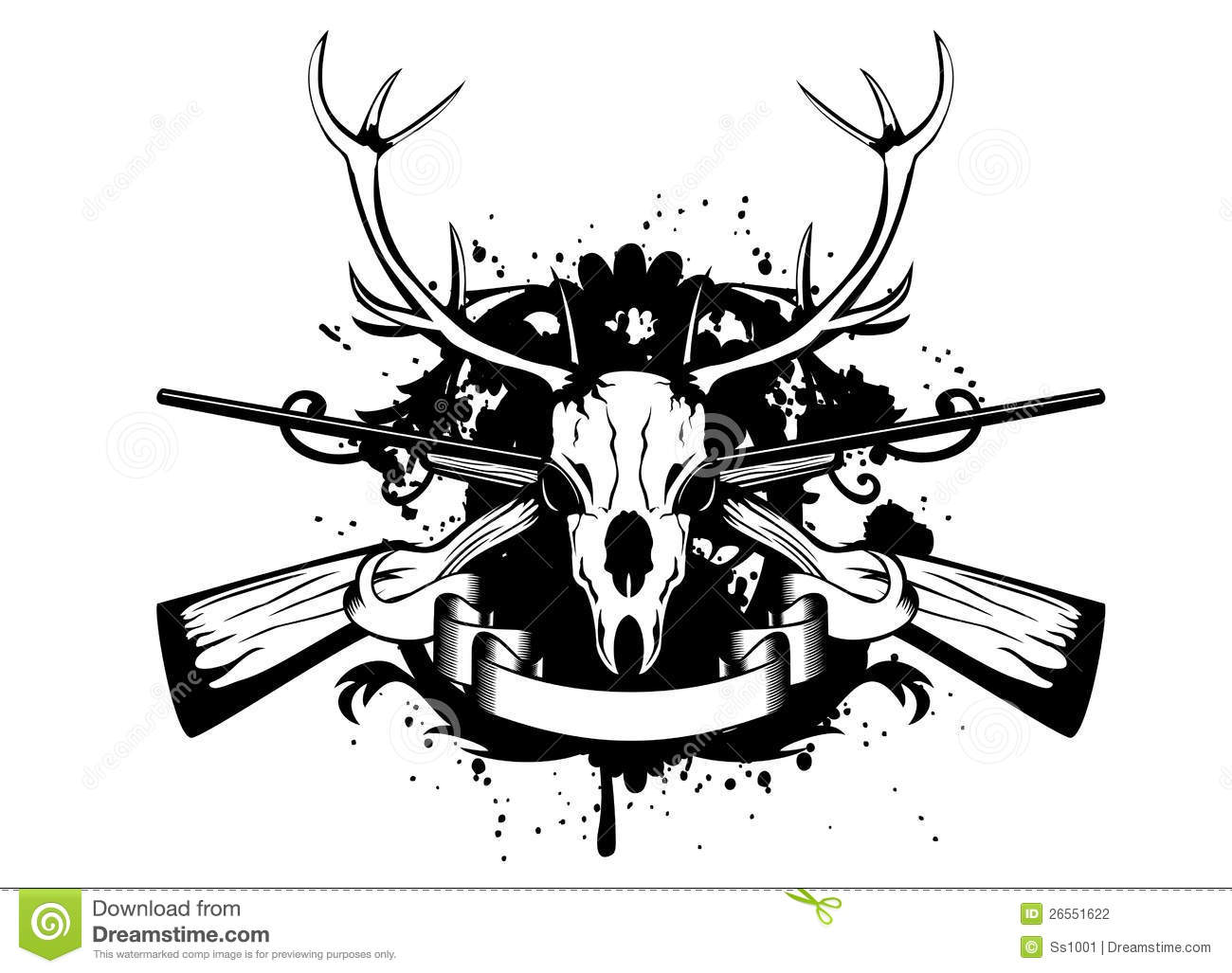 Skulls And Guns Tattoos: Skull Artiodactyl And Crossed Guns Stock Vector