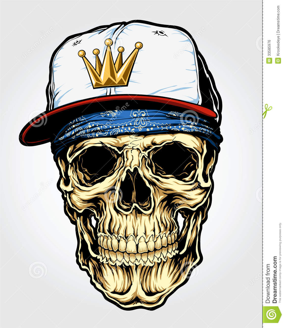 Skull With Bandanna And Cap Stock Vector