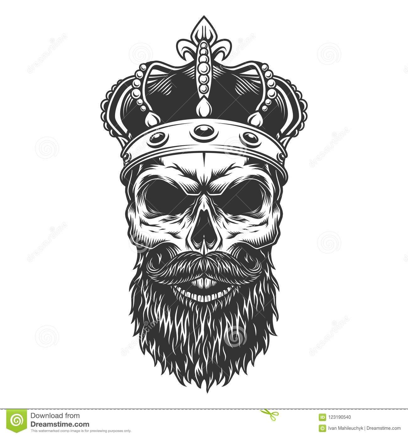 Skull With Beard In The Crown Vector Illustration