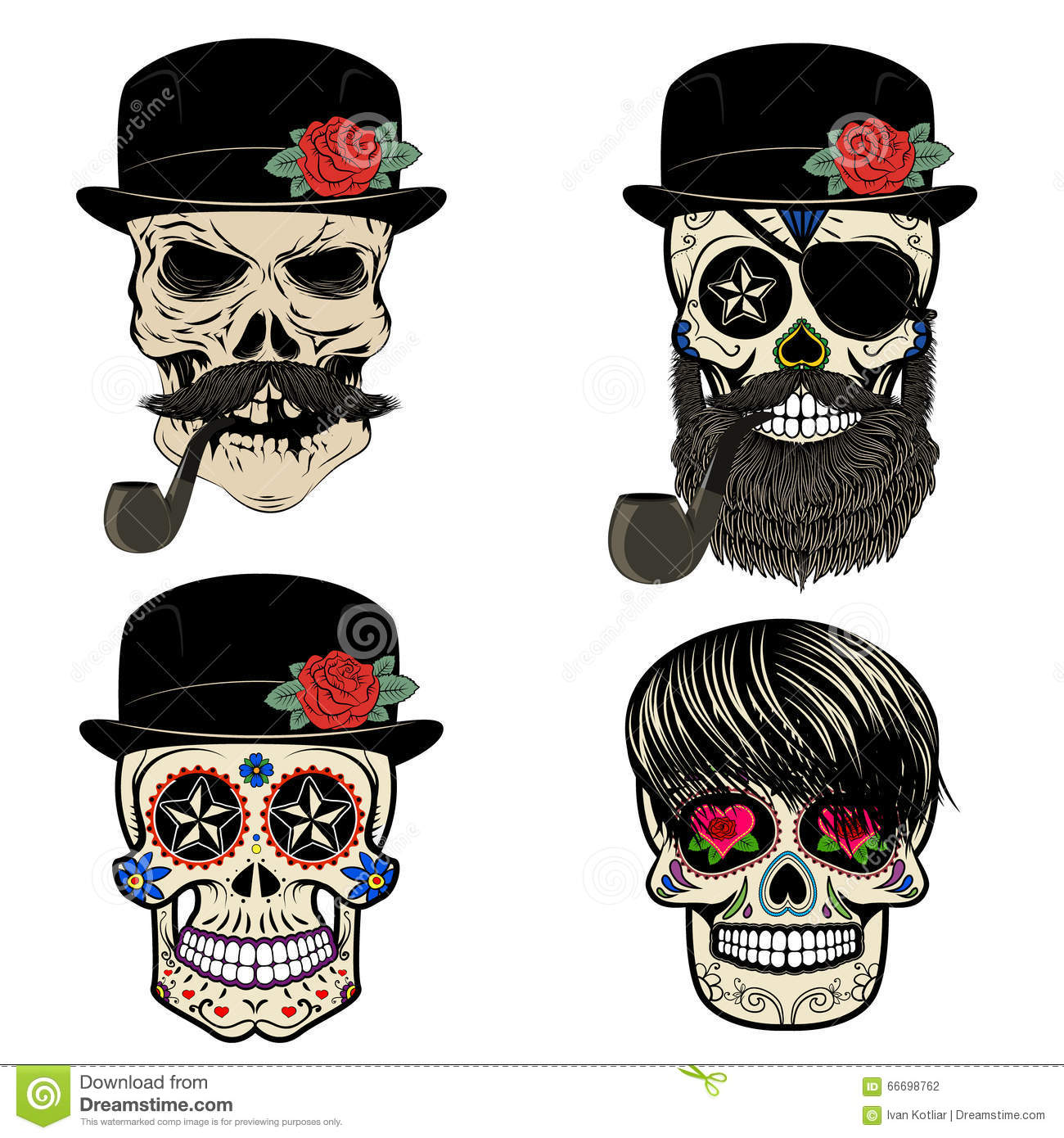 Skull With Beard And Smoking Pipe