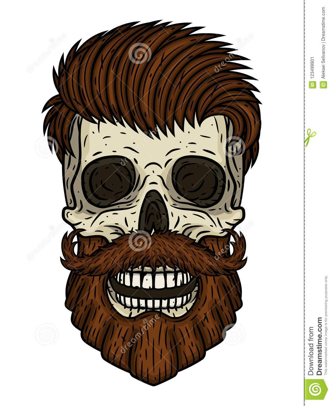 Skull Bearded Vector Illustration Of Human With Beard And Mustache