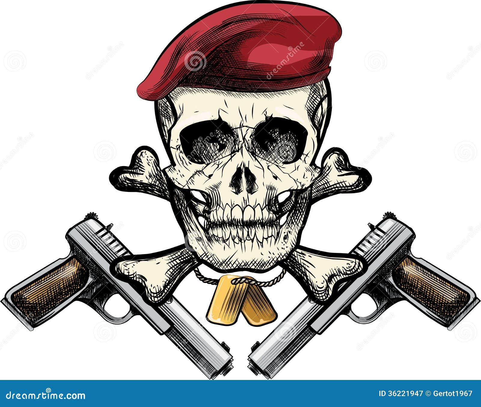 Skull in the beret stock vector illustration of badge 36221947 skull in the beret voltagebd Gallery