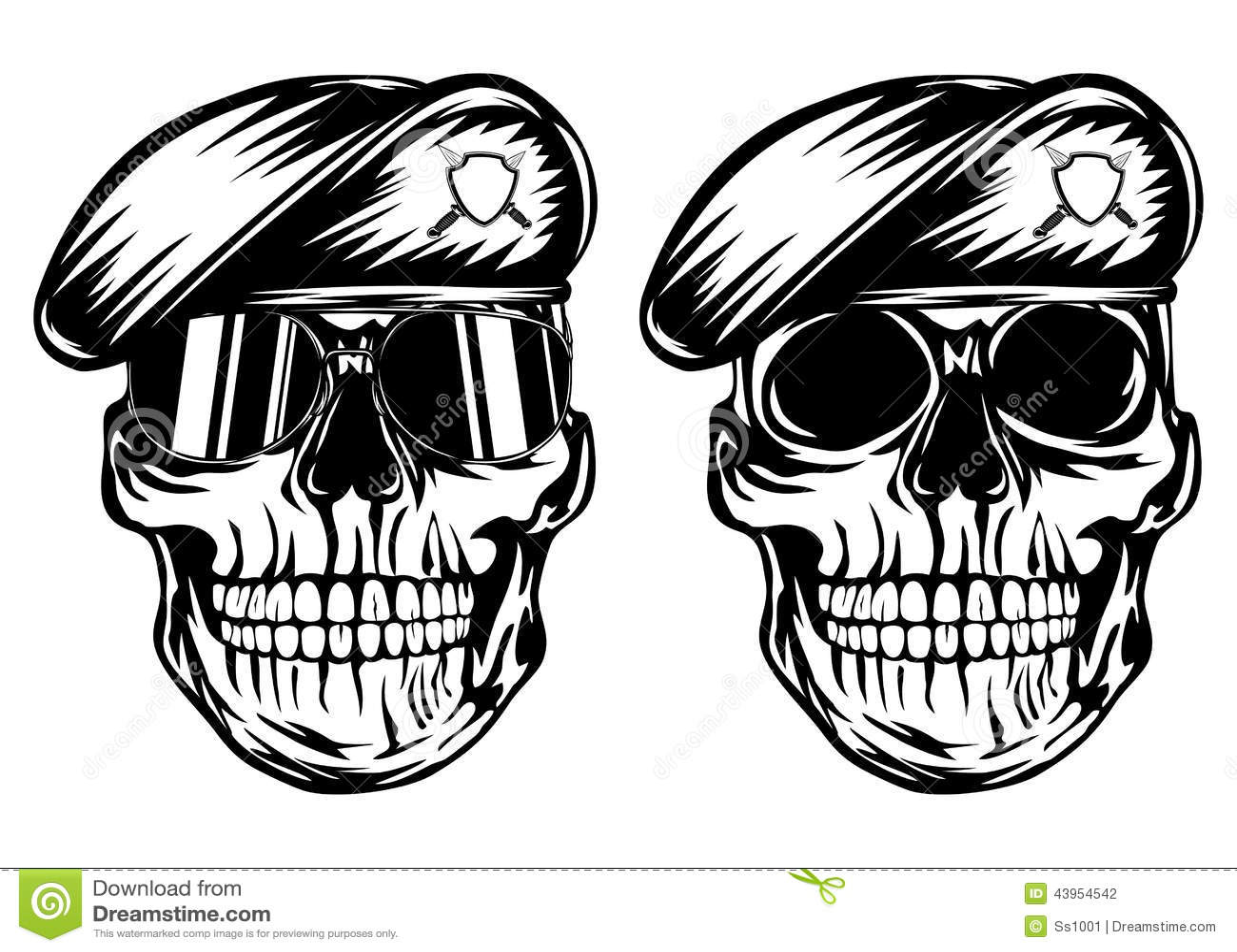 Skull In Beret Stock Vector Image 43954542