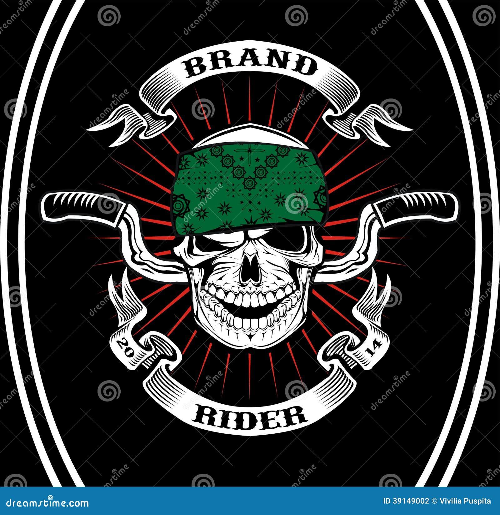Art Unlimited Sportswear: Skull Biker Rider Stock Illustration