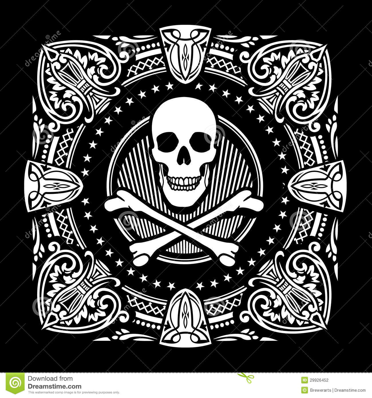 crossbones and ornate spades stock vector