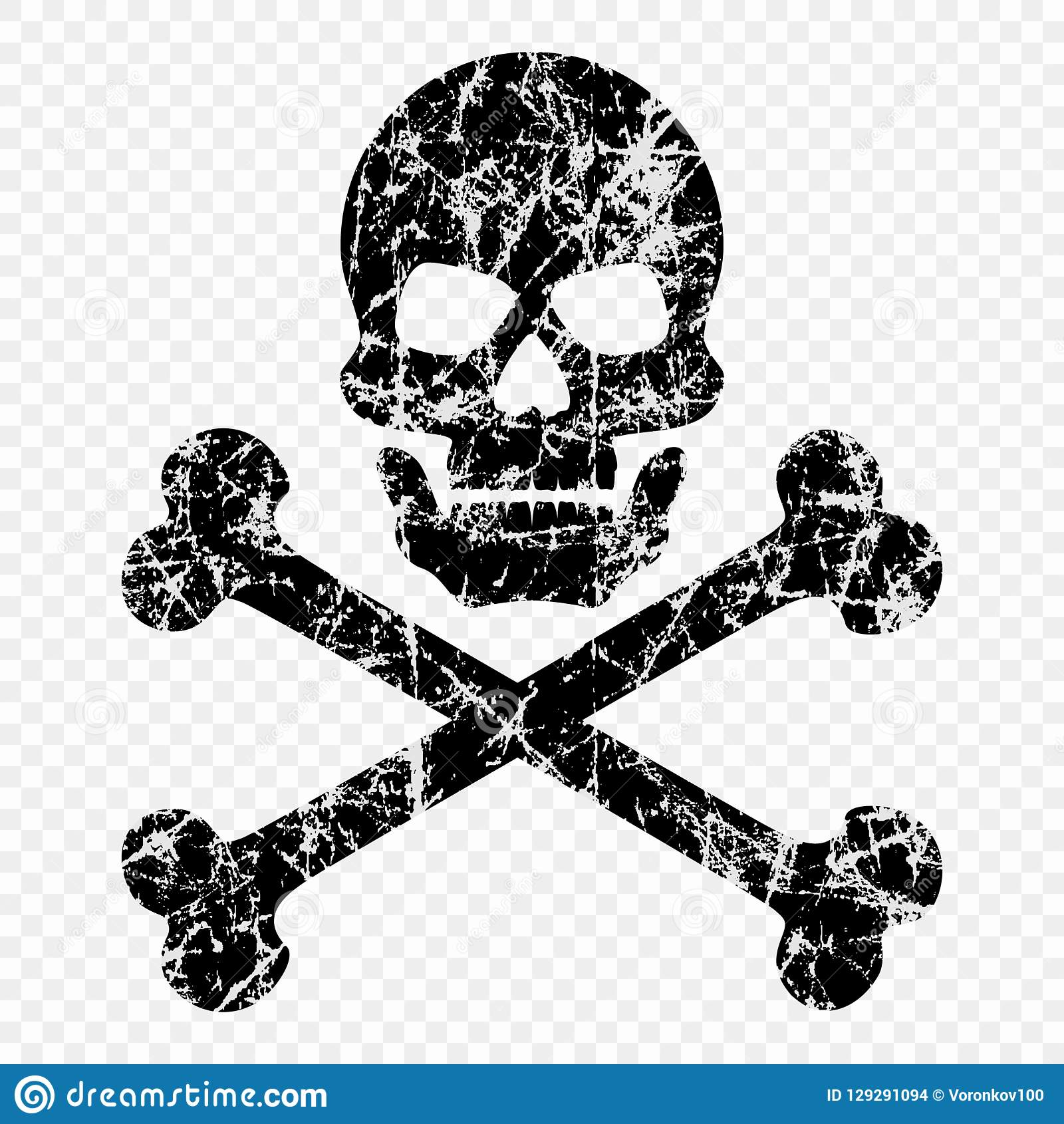 Skull With Bones Scratched On Isolated Transparent Background Worn