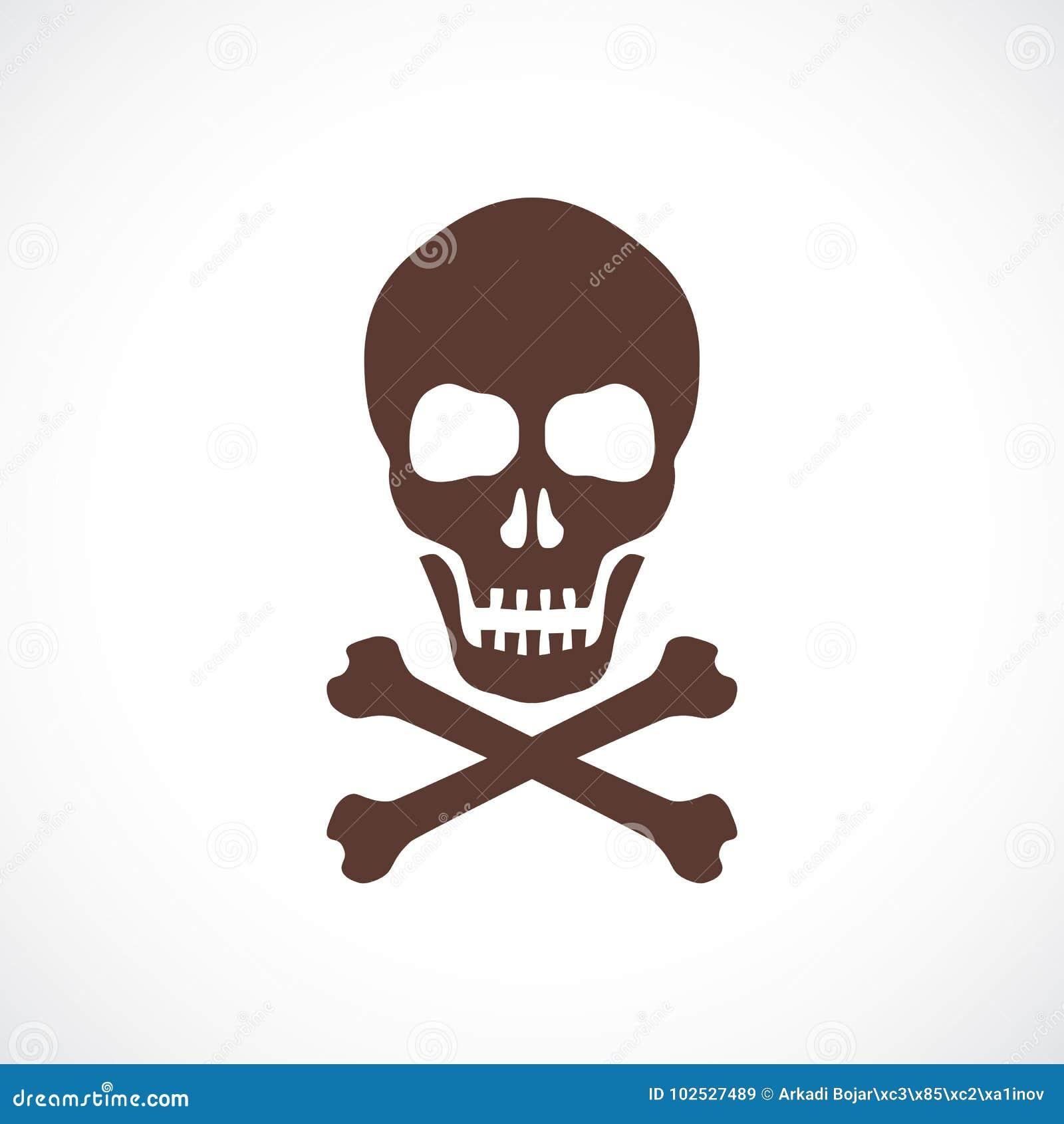 Skull And Bones Vector Symbol Stock Vector Illustration Of Cross